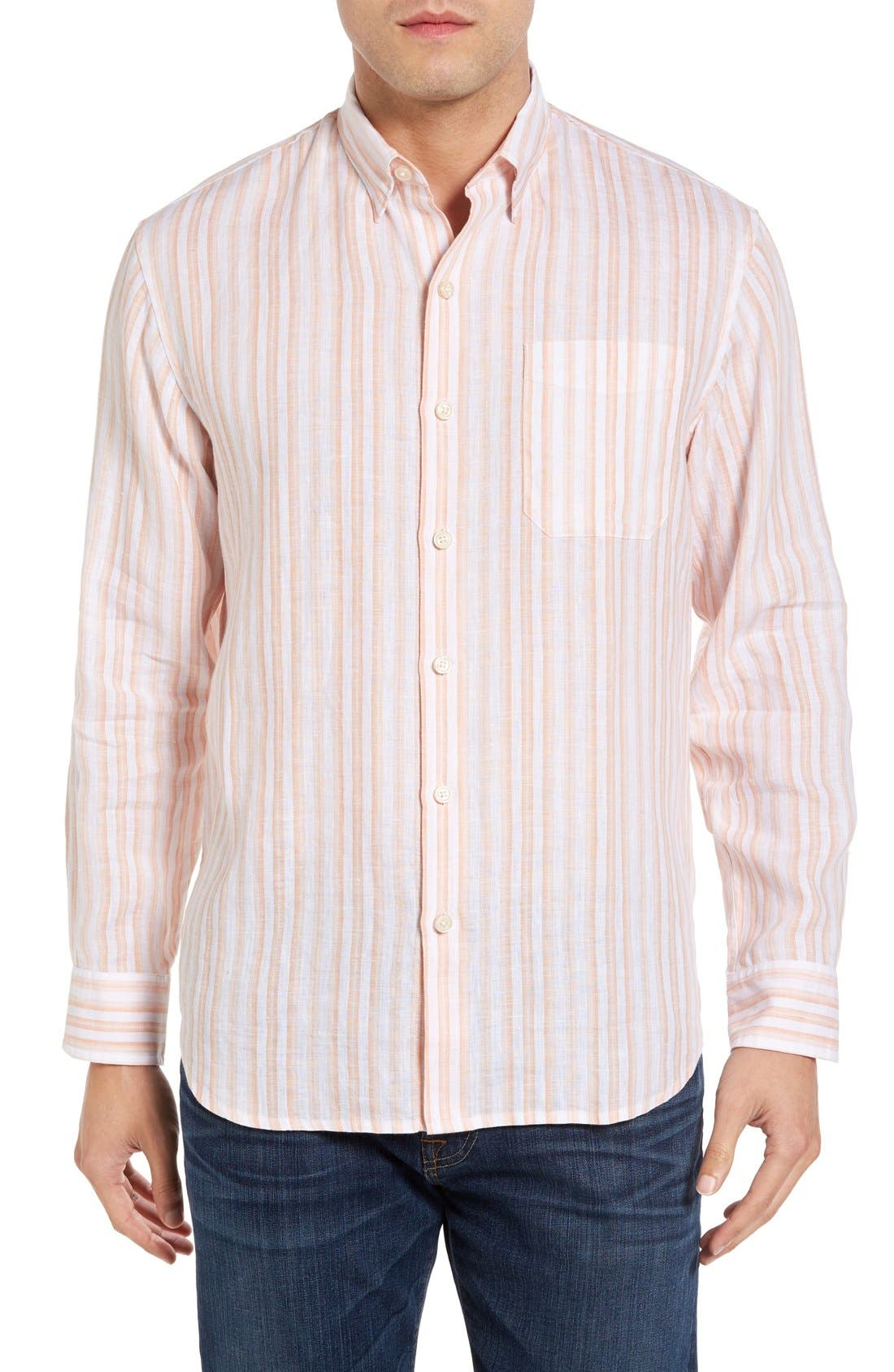 Tommy Bahama Pintado Stripe Linen Sport Shirt (Big & Tall)
