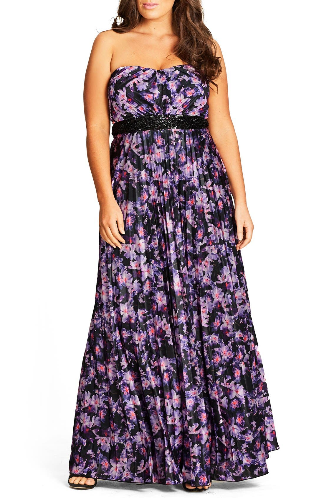 CITY CHIC Helena Print Strapless Maxi Dress