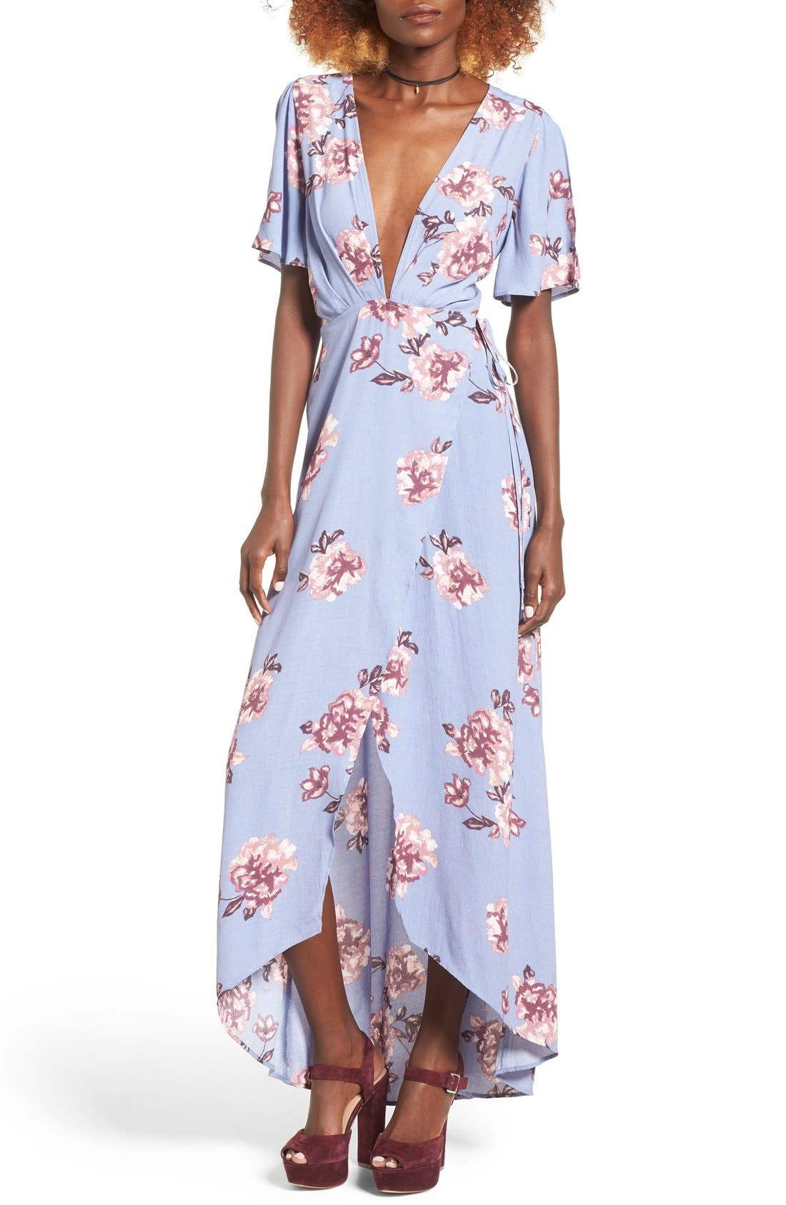Main Image - ASTR Selma Floral Print Wrap Dress