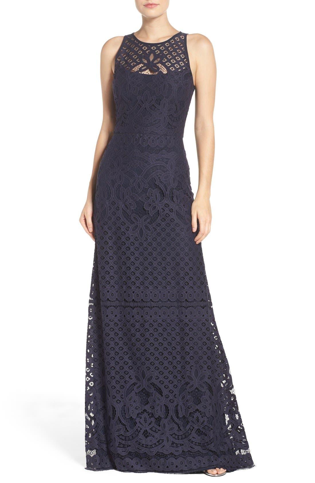 Vera Wang Illusion Yoke Lace Maxi Dress