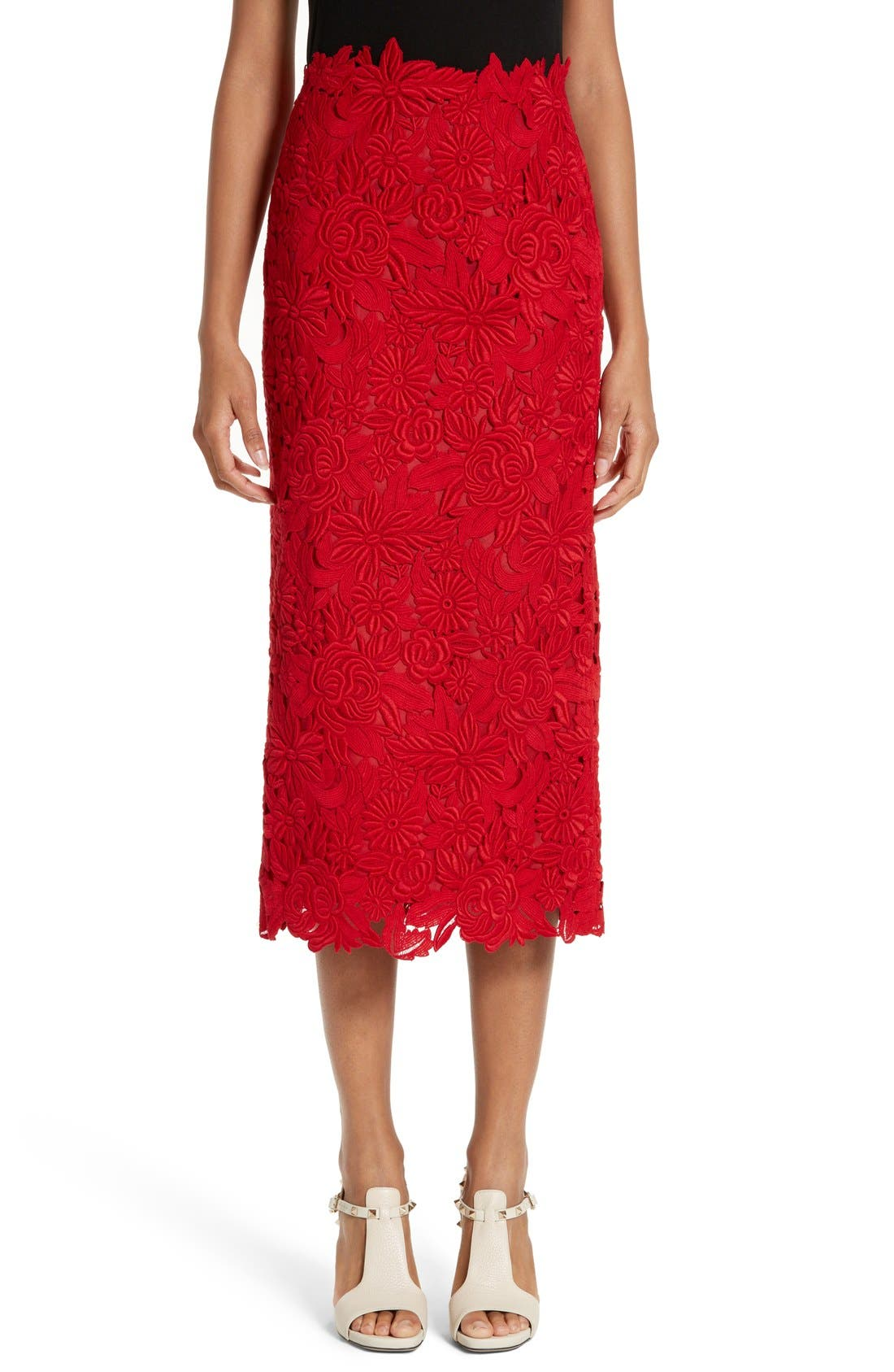 Main Image - Valentino Guipure Lace Midi Skirt