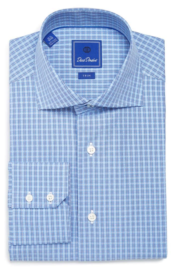 David Donahue Trim Fit Check Dress Shirt Nordstrom