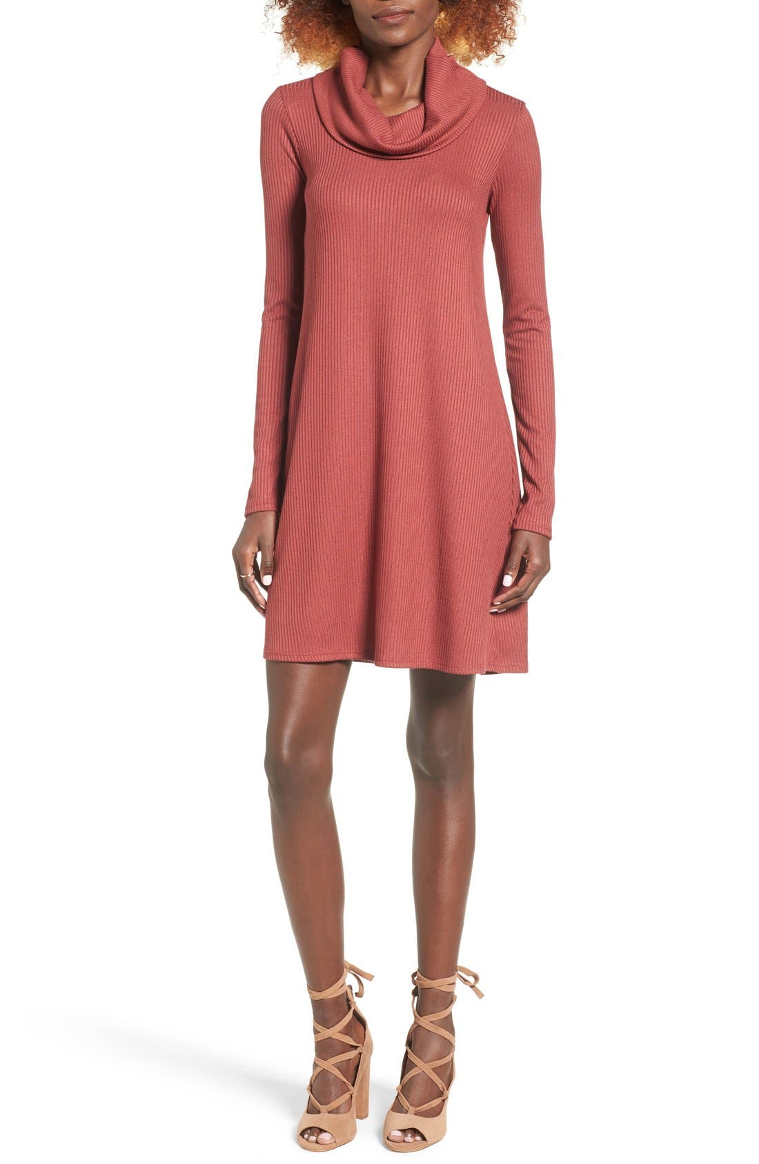 Alternate Image 1 Selected - Socialite Maddie Rib Knit Cowl Shift Dress