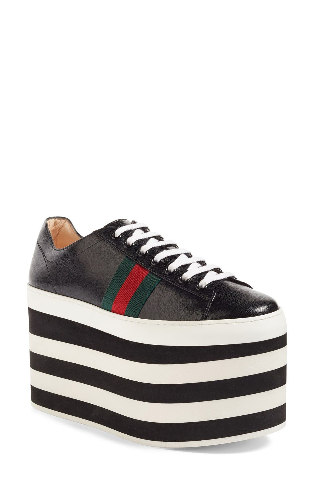 Alternate Image 1 Selected - Gucci Peggy Platform Sneaker (Women)