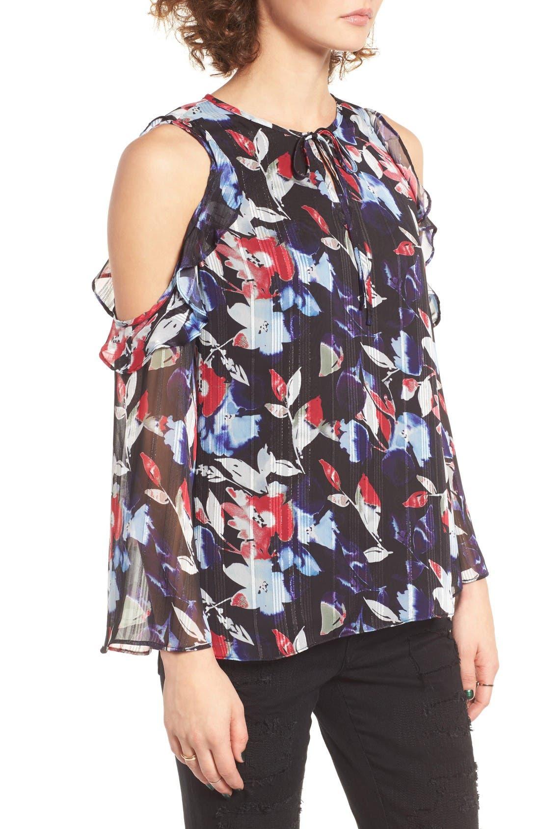 Alternate Image 3  - devlin Essie Floral Cold Shoulder Blouse