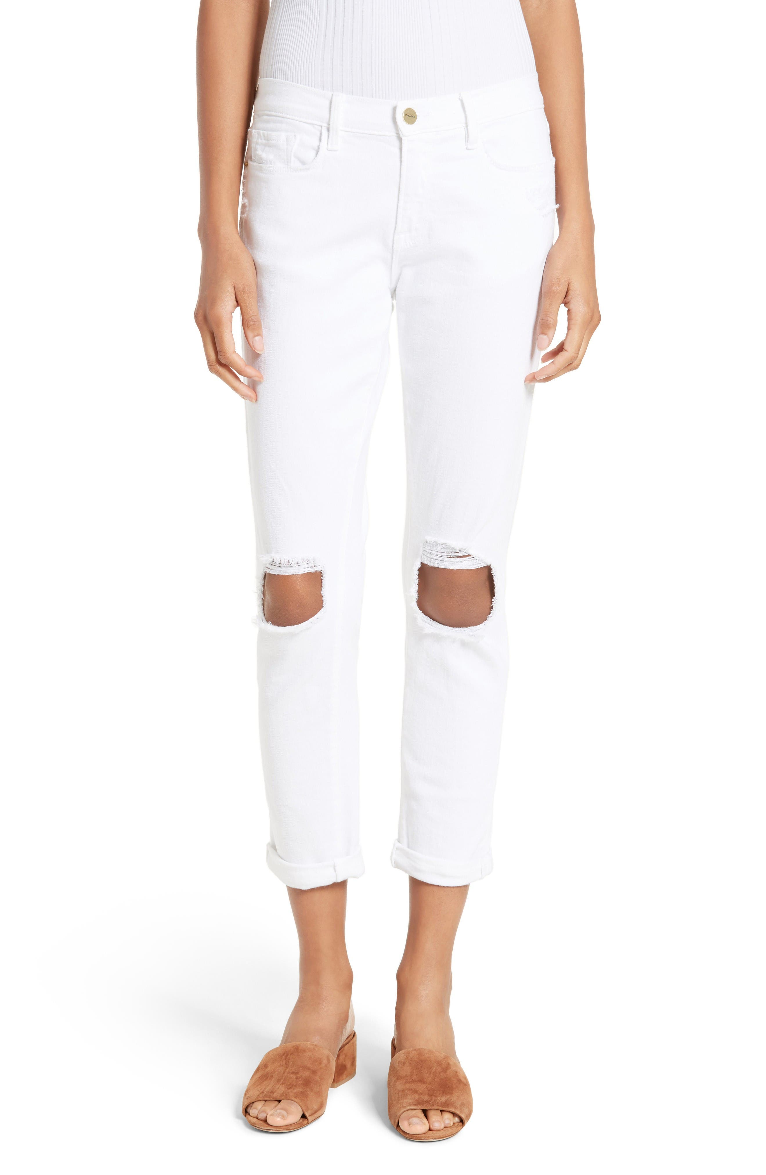 FRAME Le Garcon Destroyed Crop Skinny Jeans