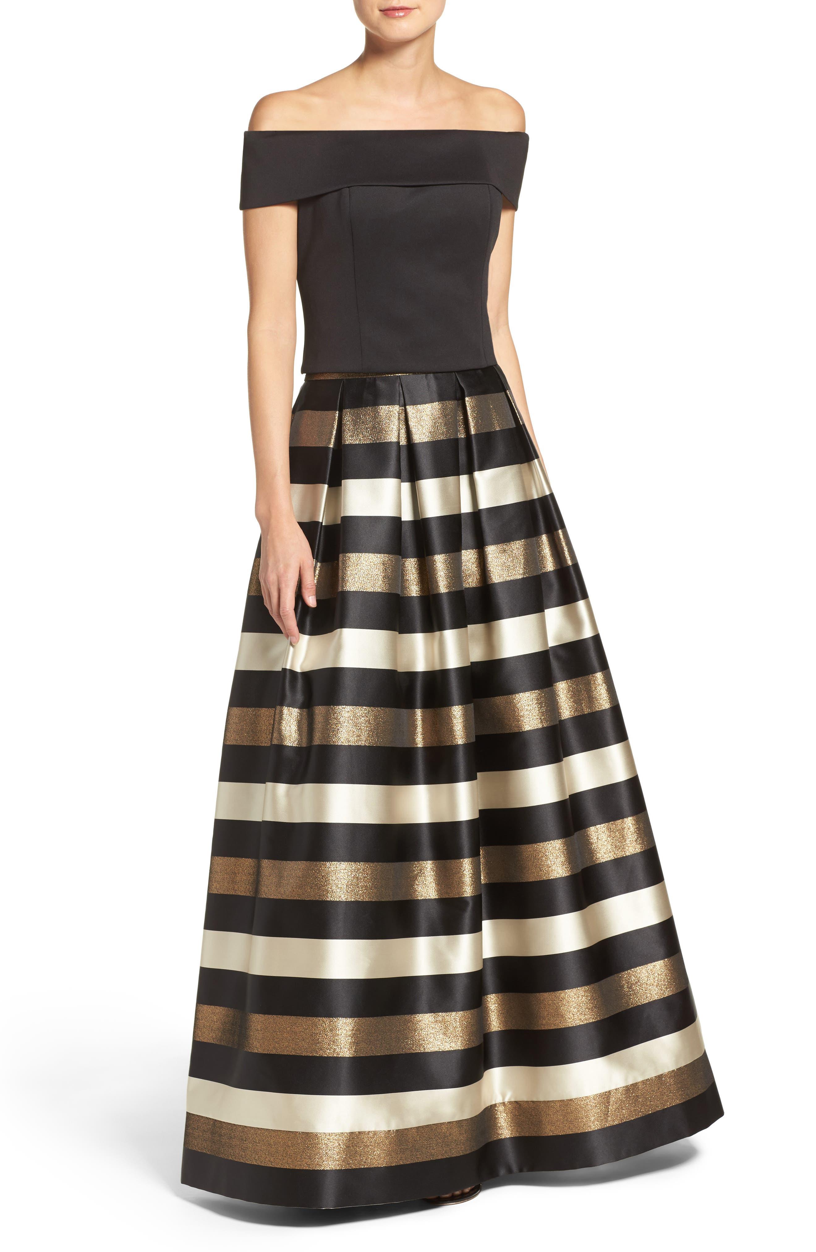 Alternate Image 2  - Eliza J Metallic Stripe Ball Skirt