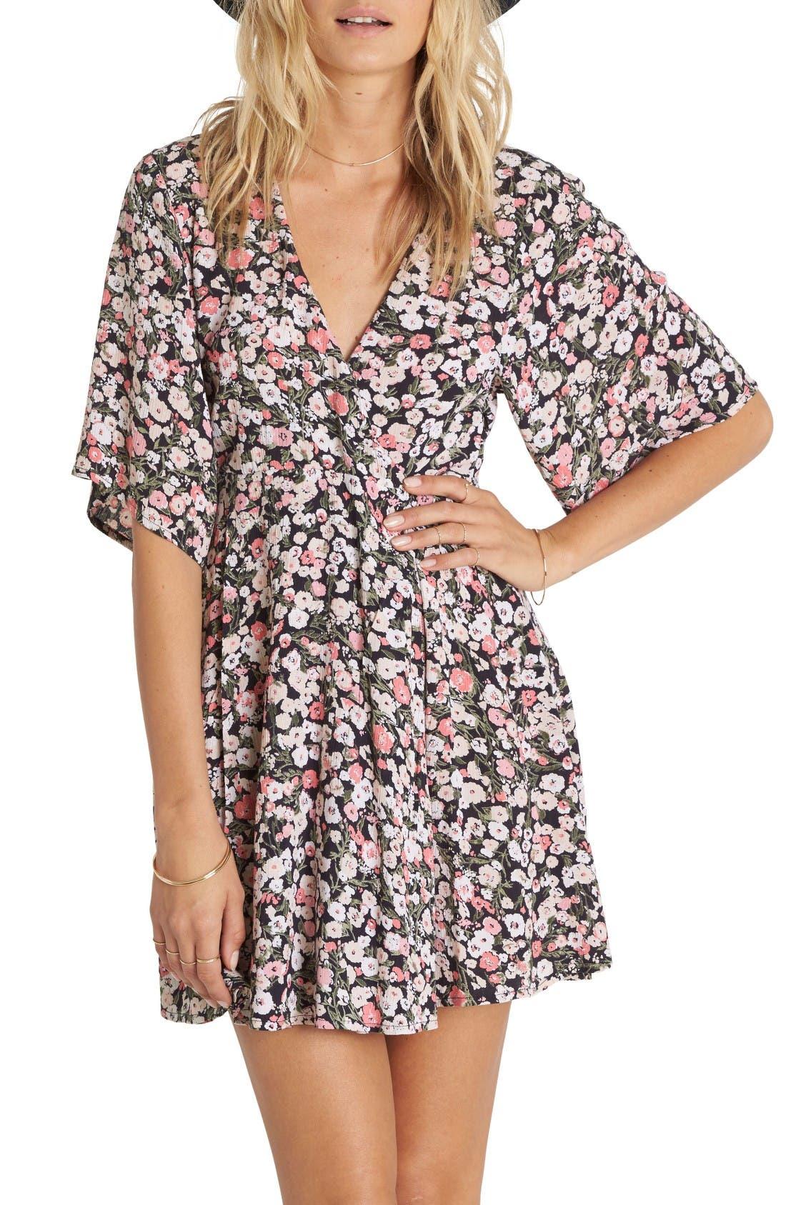 Billabong Dolly Print Flutter Sleeve Dress