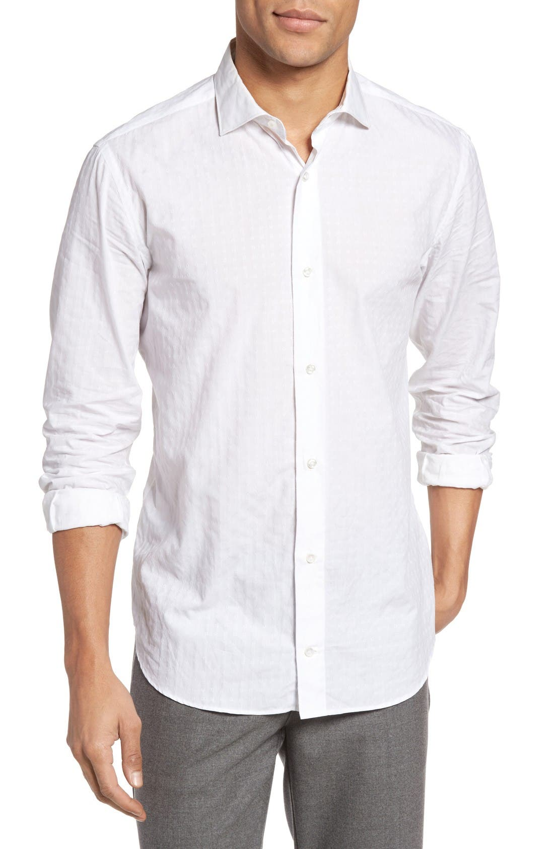 ELEVENTY Tonal Jacquard Weave Sport Shirt