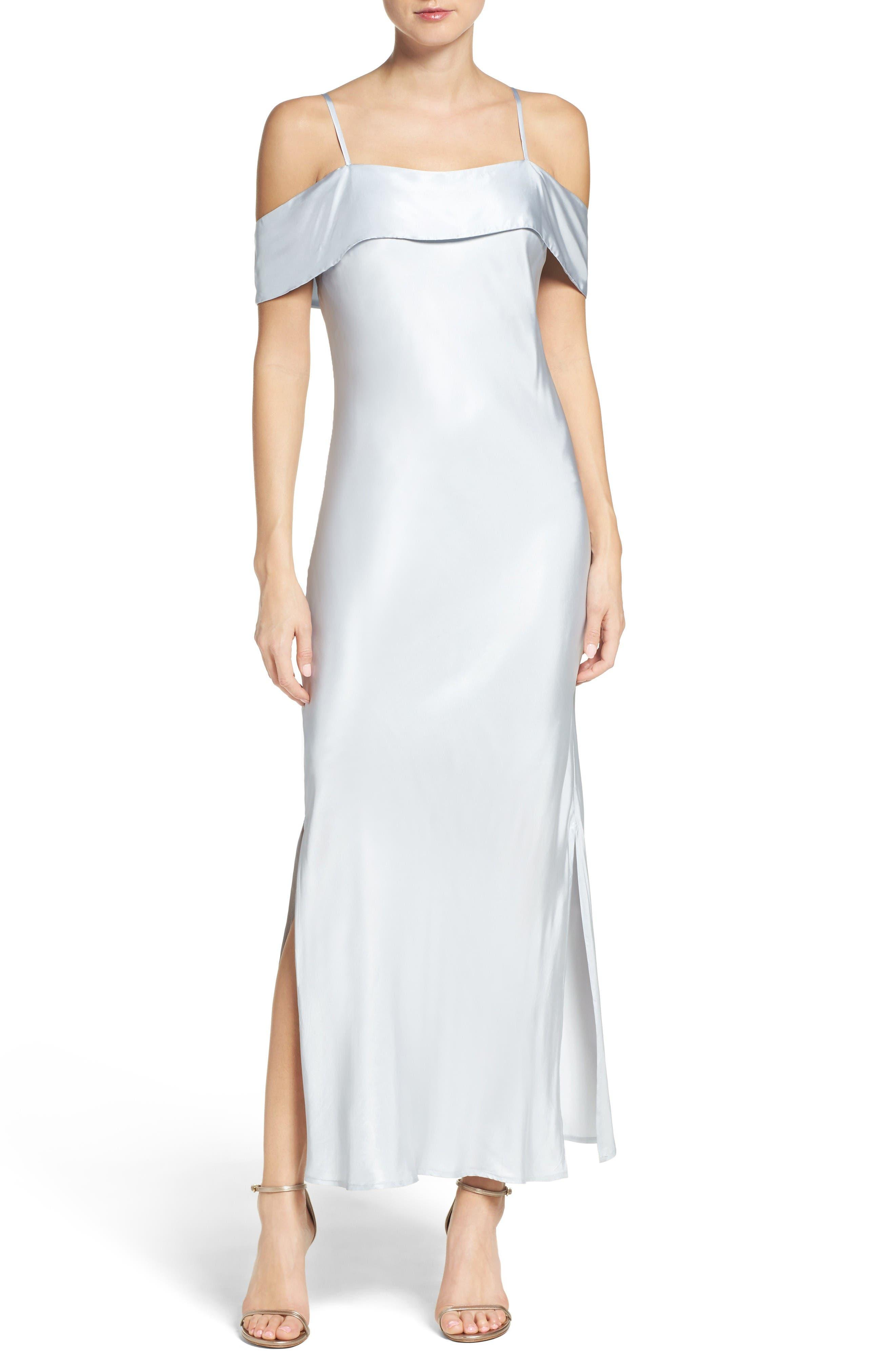 BARDOT Off the Shoulder Satin Dress