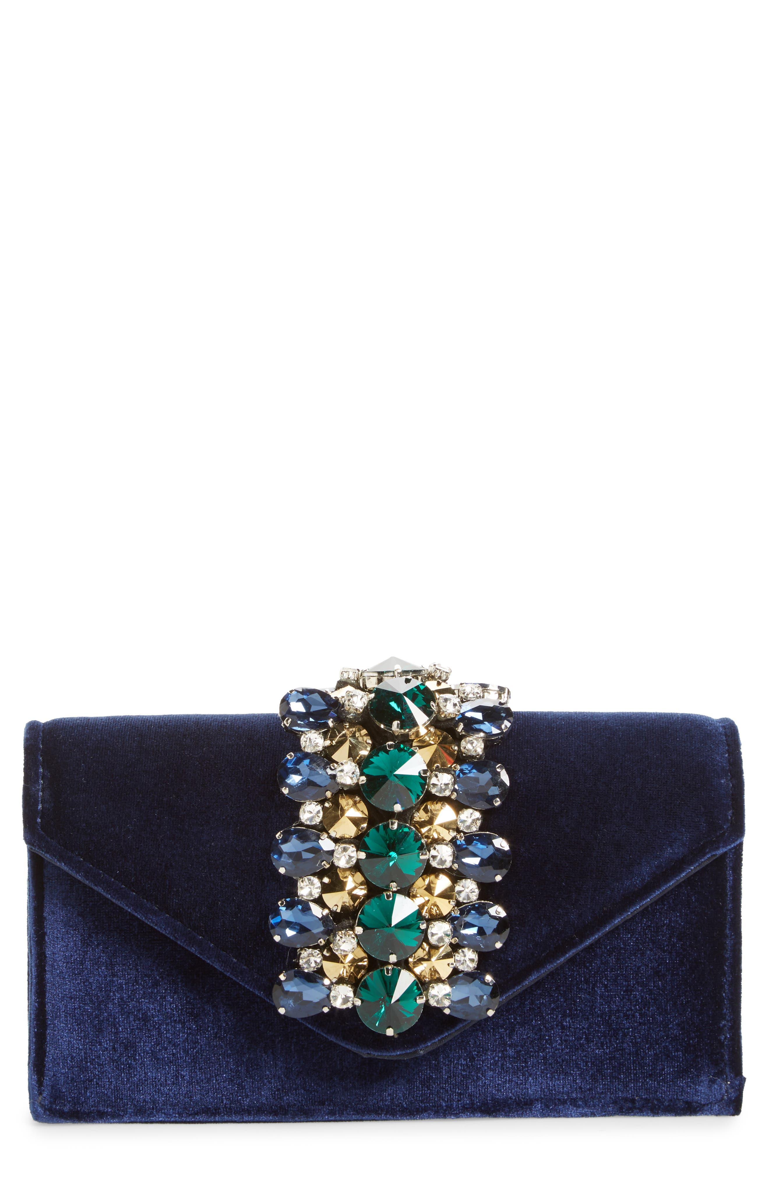 Main Image - Sondra Roberts Crystal Embellished Velvet Box Clutch