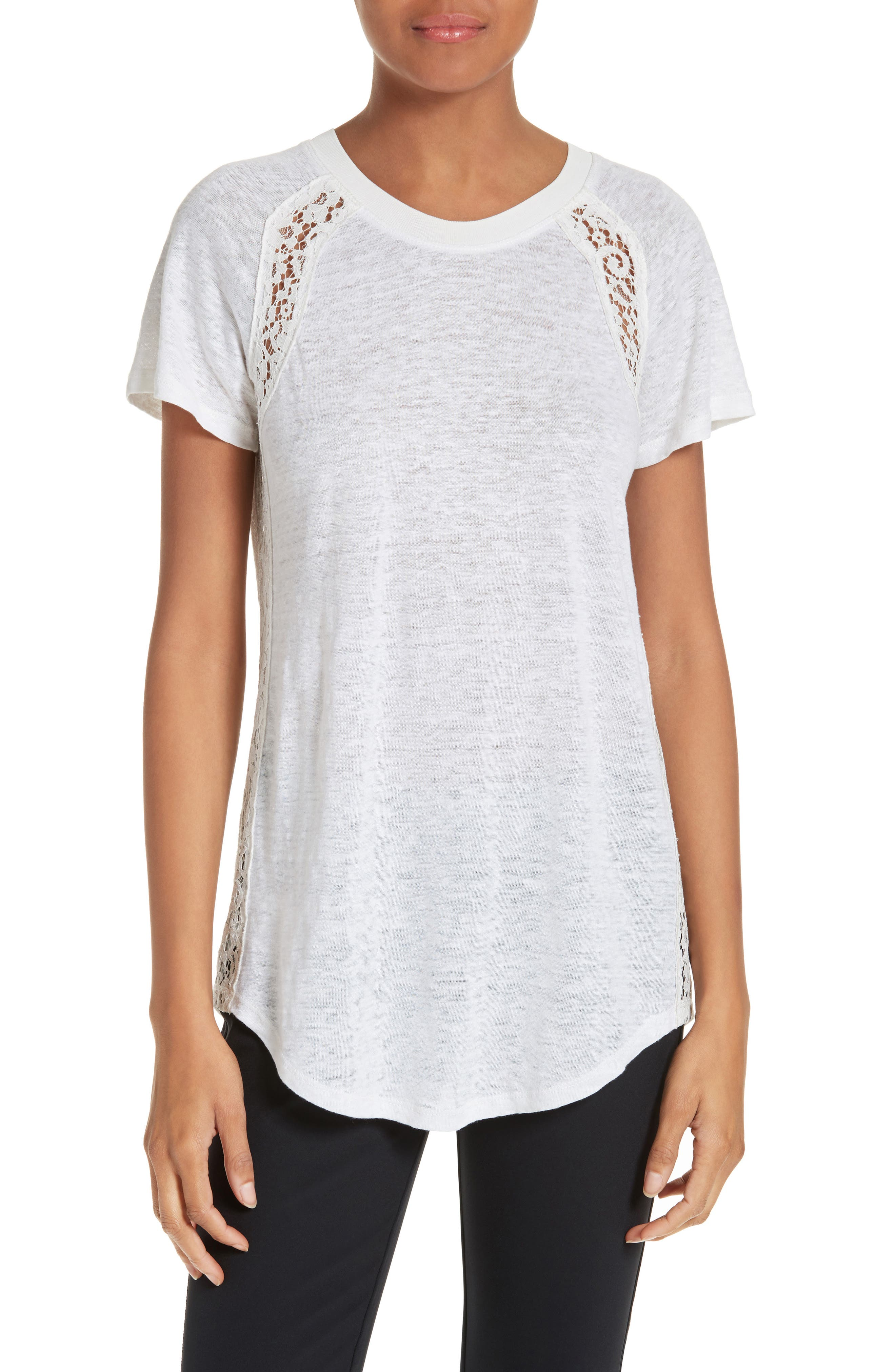 Rebecca Taylor Short Sleeve Linen & Lace Tee