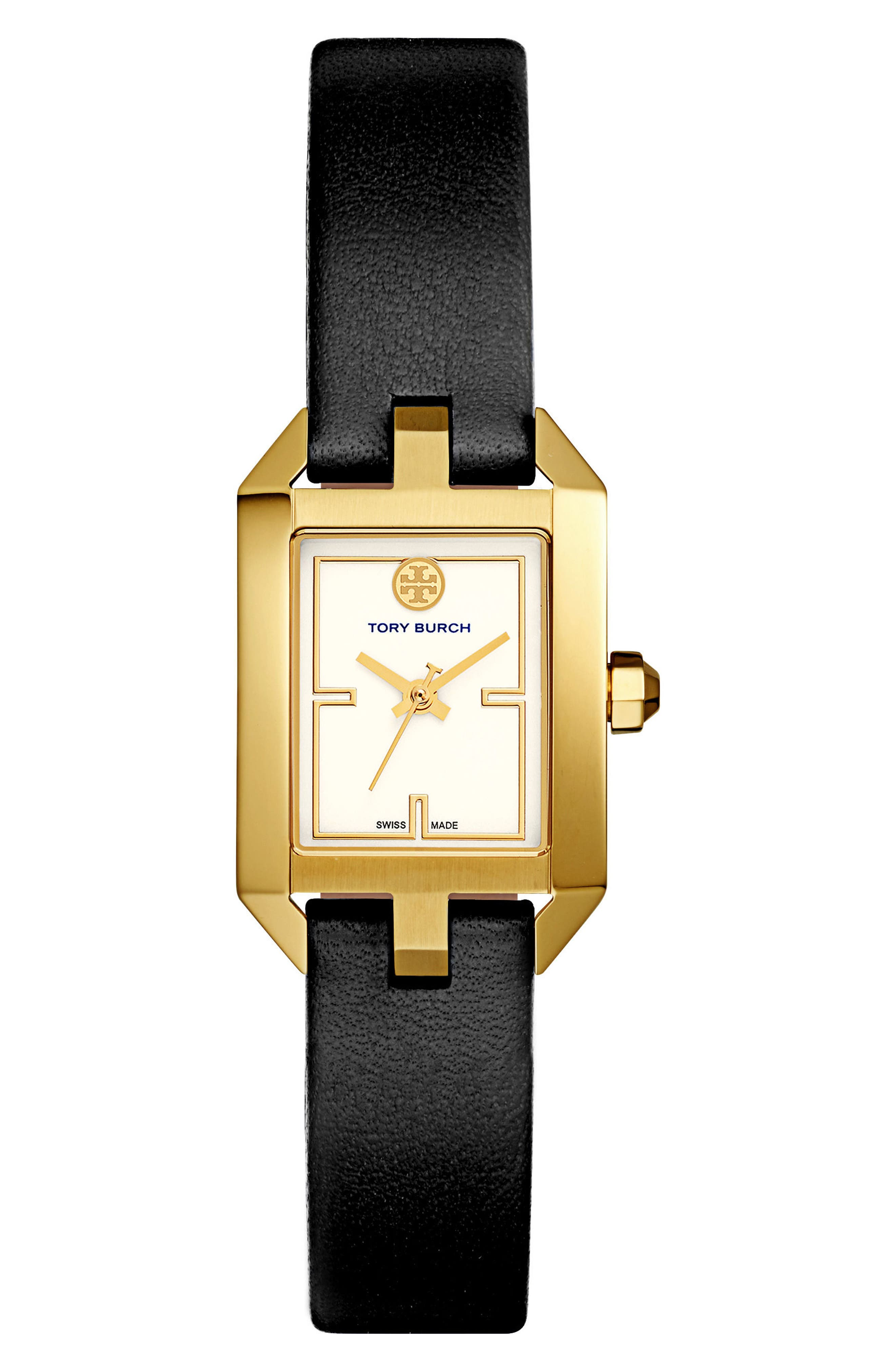 Main Image - Tory Burch Dalloway Leather Strap Watch, 21mm x 24mm