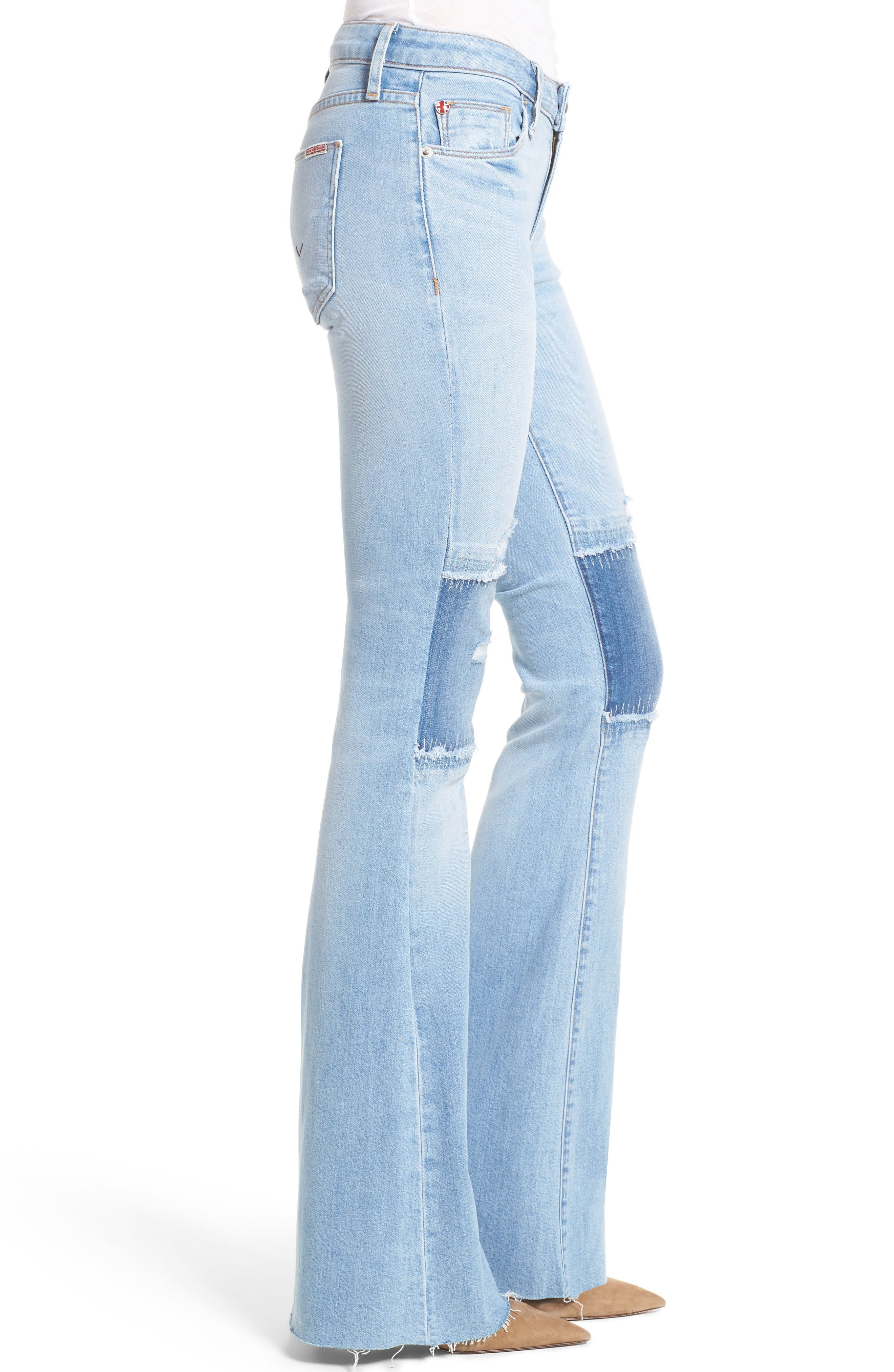 Alternate Image 3  - Hudson Jeans Mia Patchwork Flare Jeans (Royal Delta)