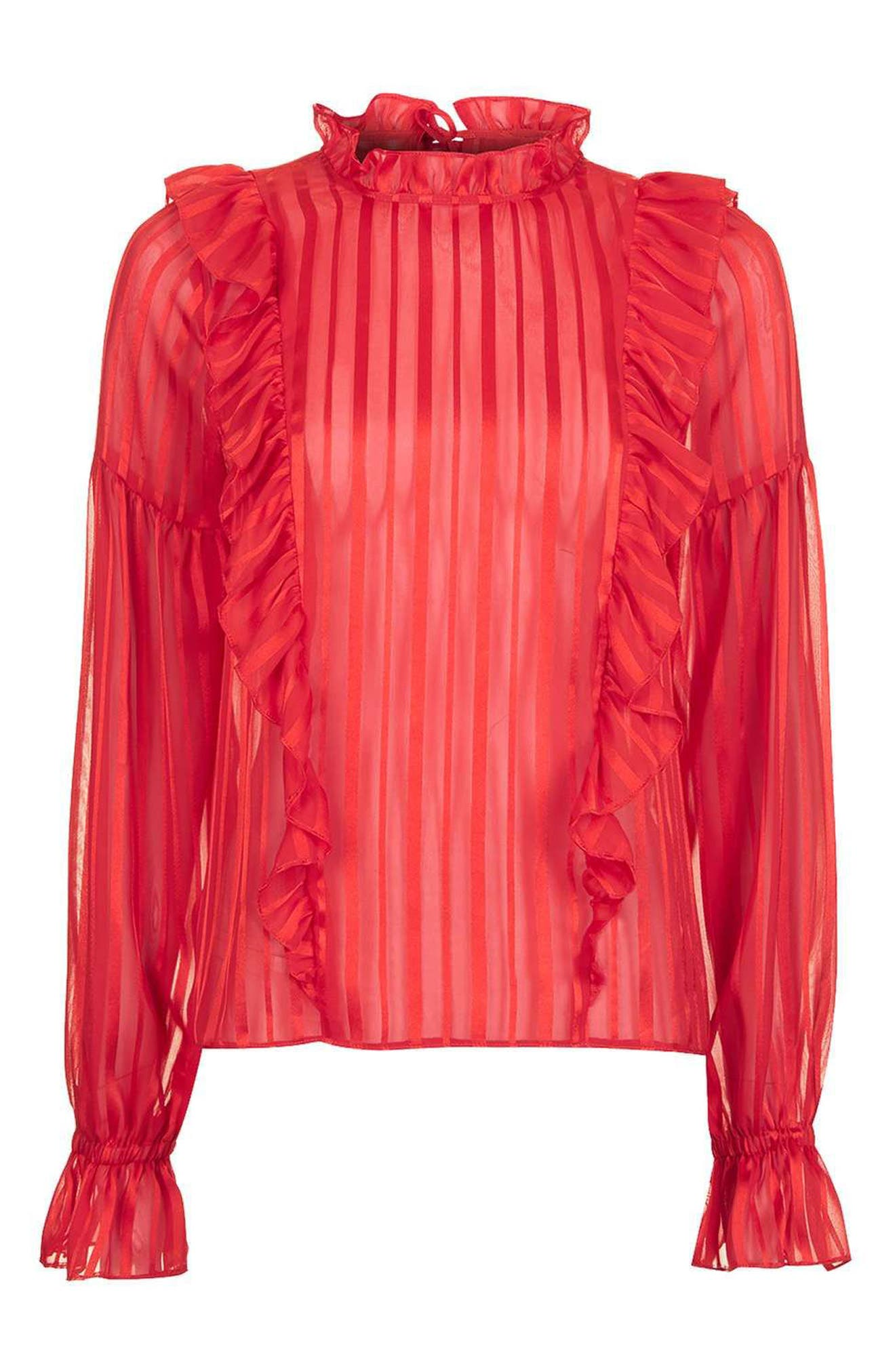 Alternate Image 4  - Topshop Stripe Ruffle Blouse