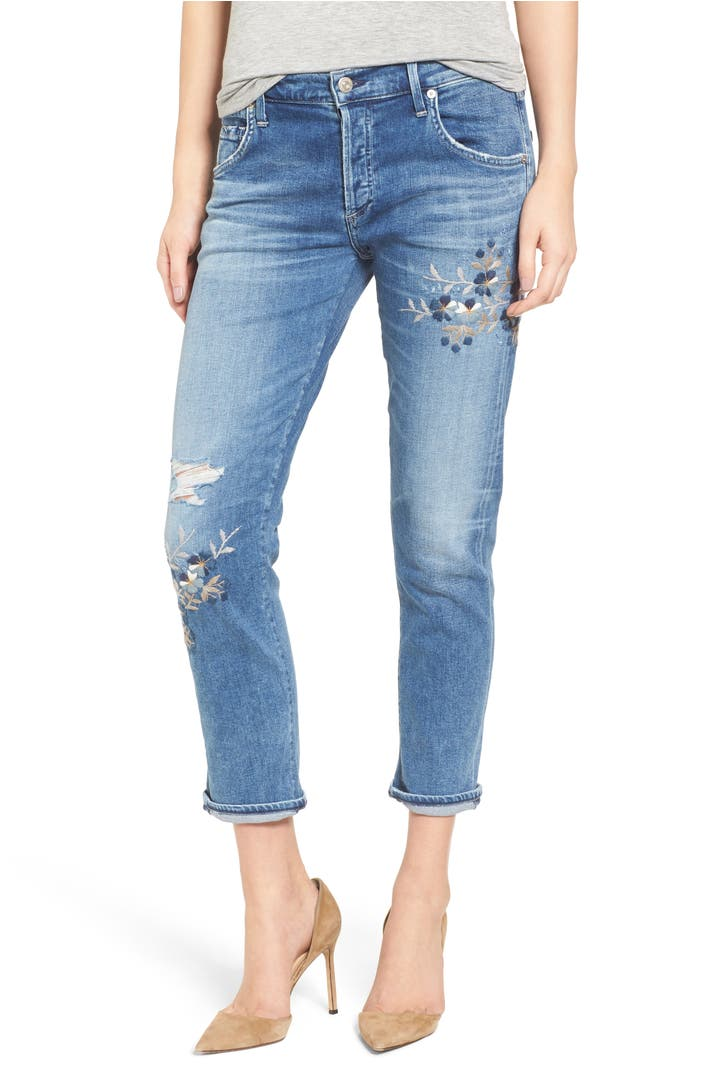 Citizens of humanity emerson embroidered slim boyfriend