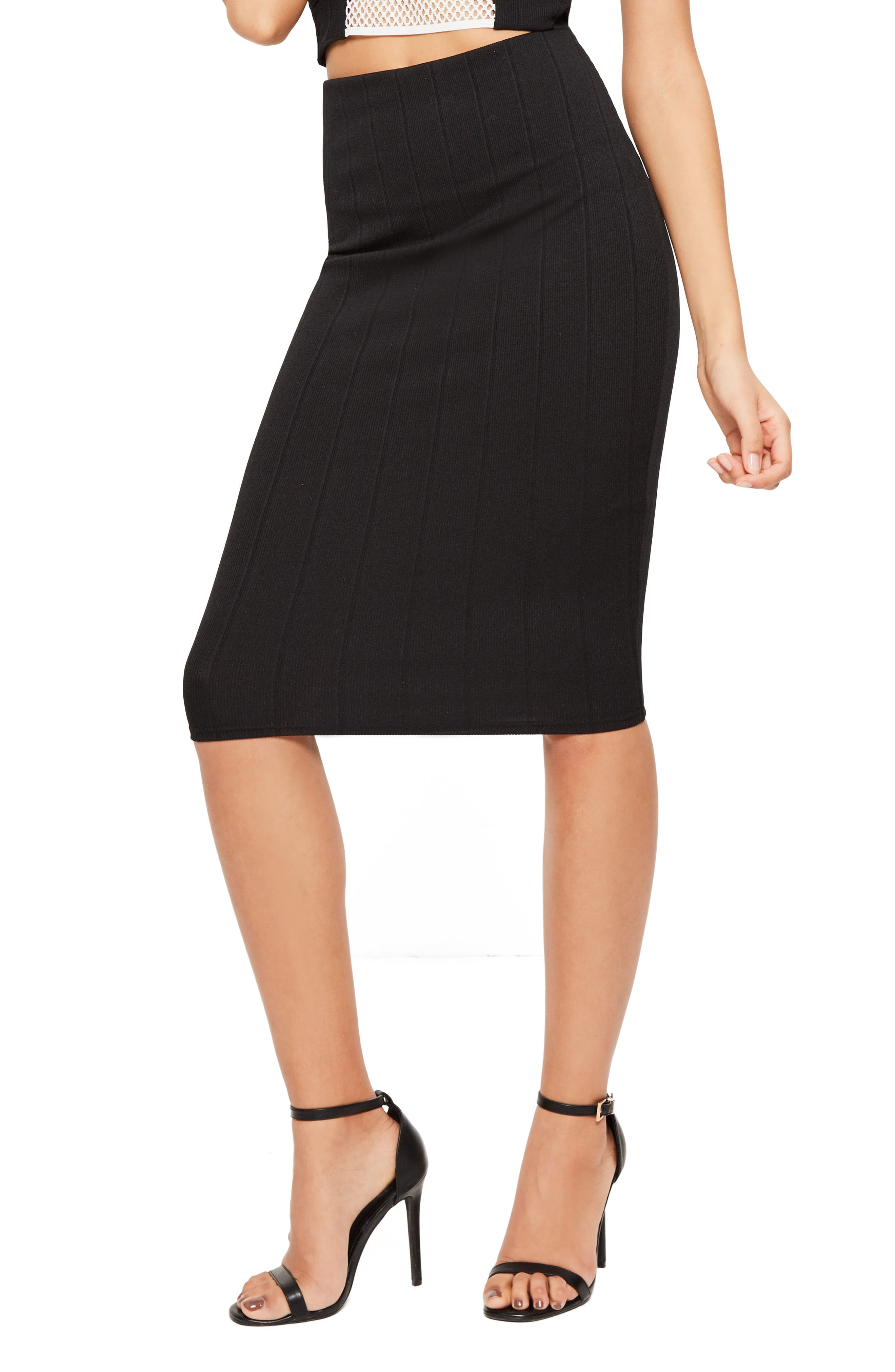 Alternate Image 1 Selected - Missguided Ribbed Pencil Skirt