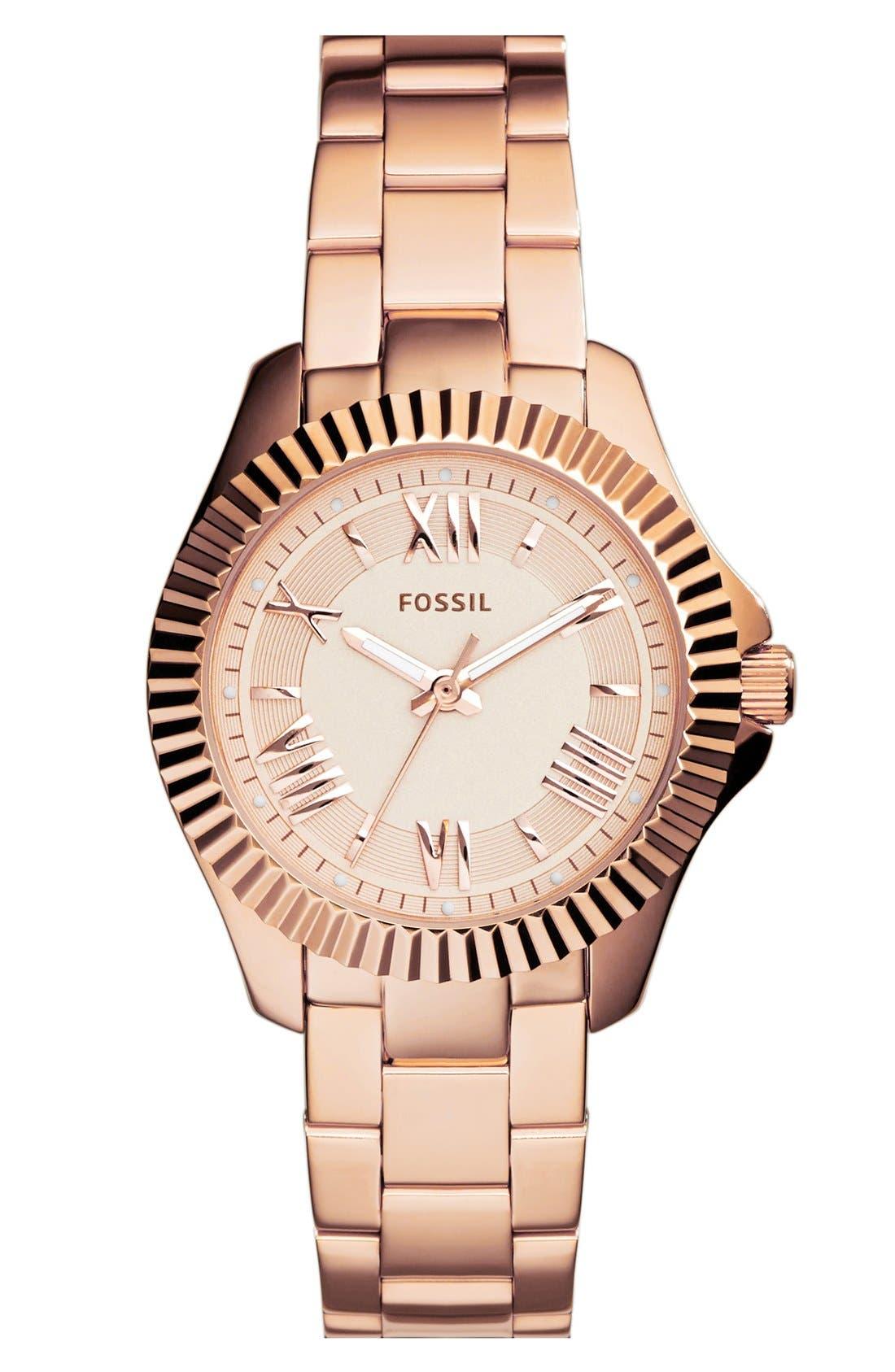 Alternate Image 1 Selected - Fossil 'Cecile' Notched Bezel Bracelet Watch, 25mm
