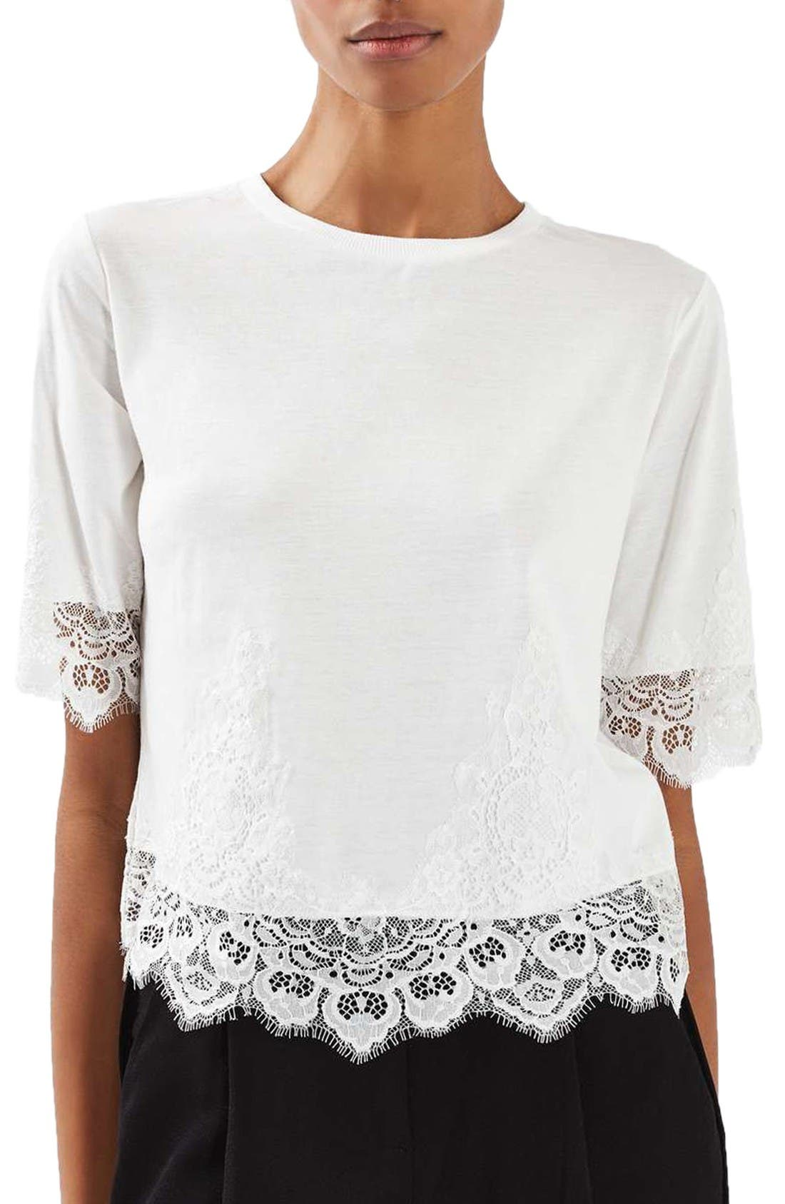 Main Image - Topshop Lace Trim Tee