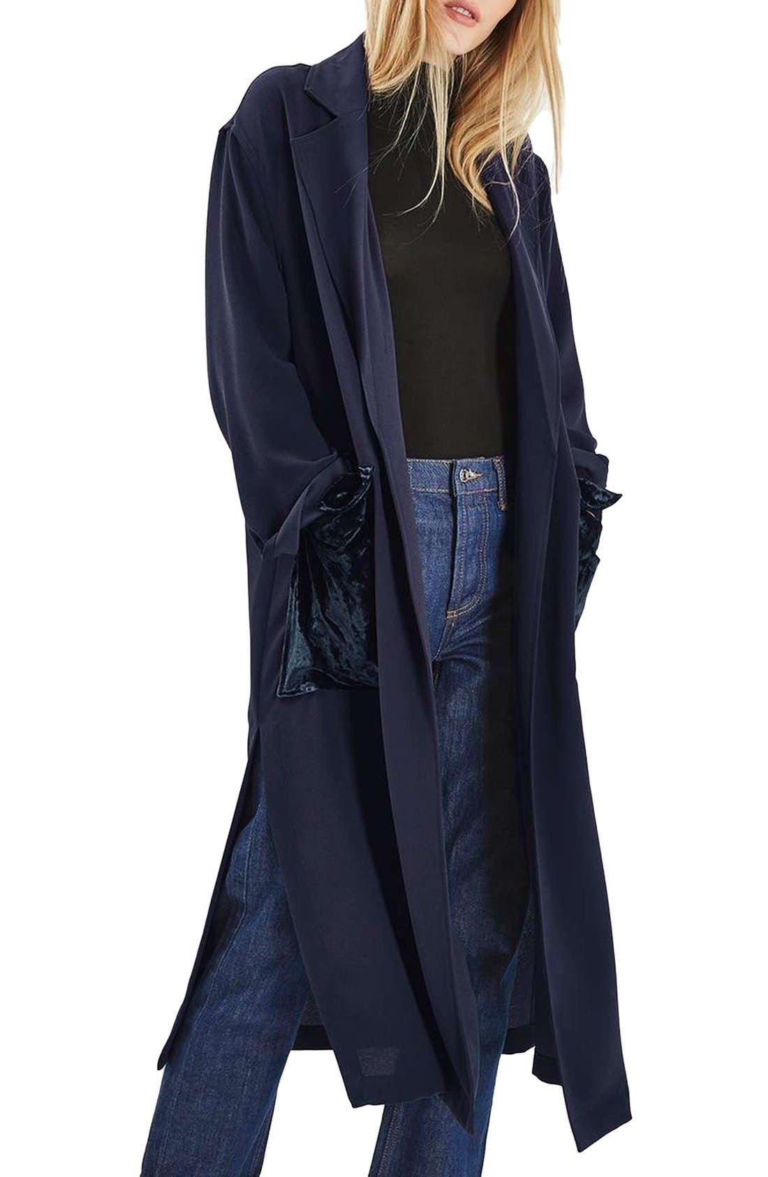 Main Image - Topshop Velvet Pocket Duster Coat