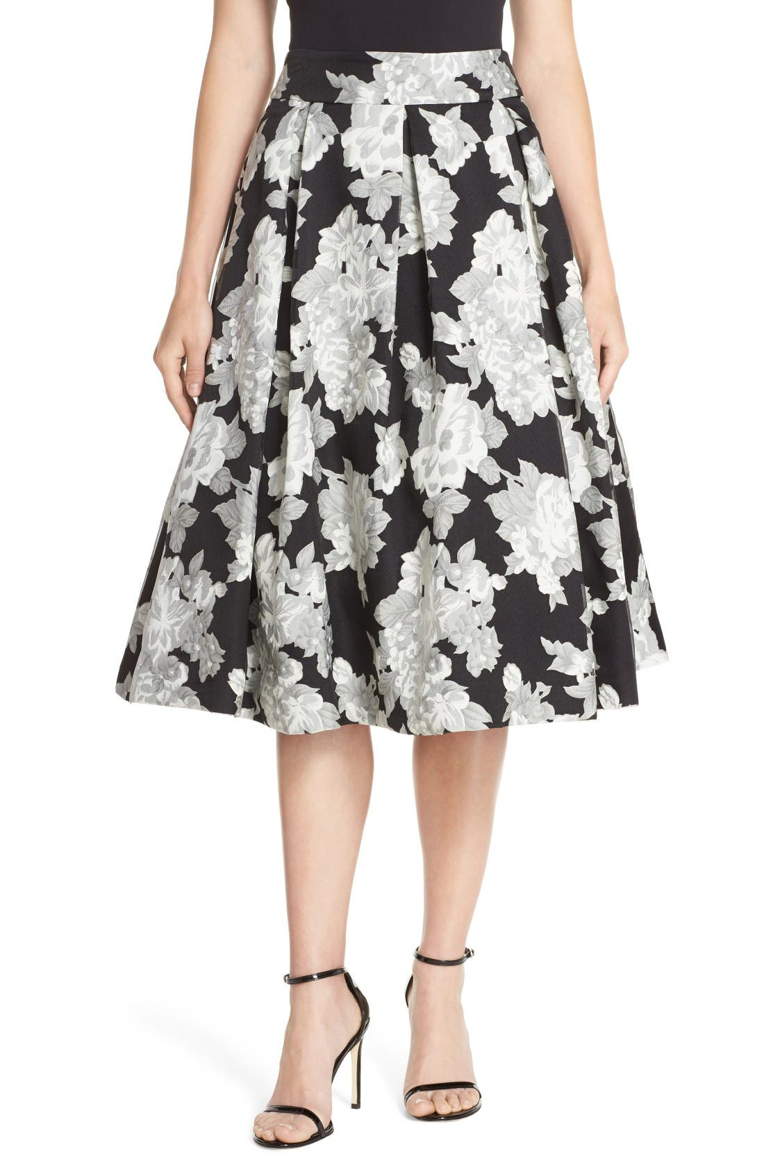 Eliza J Floral Print Organza Midi Skirt