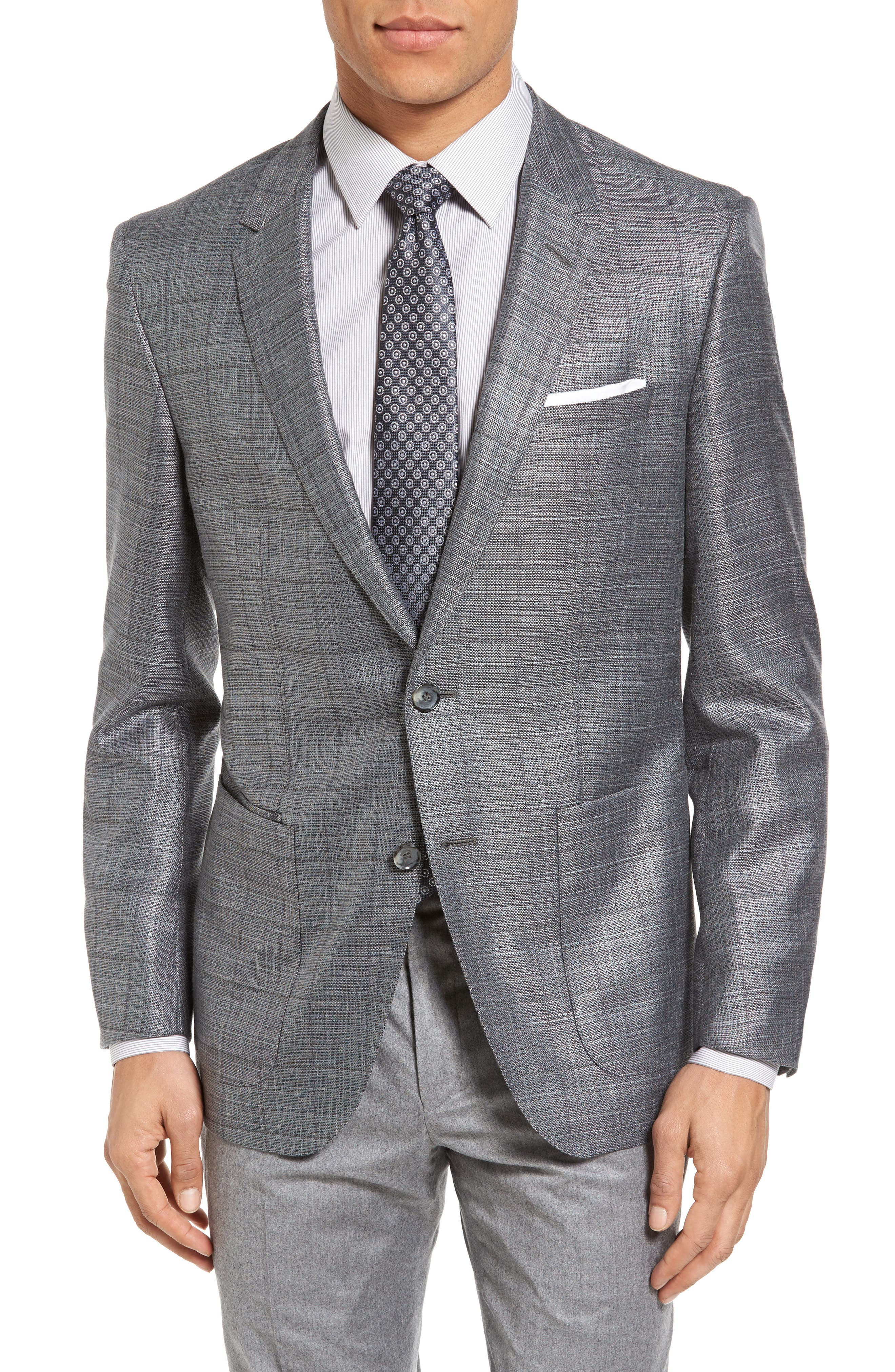 BOSS T-Hanley Trim Fit Windowpane Wool Blend Sport