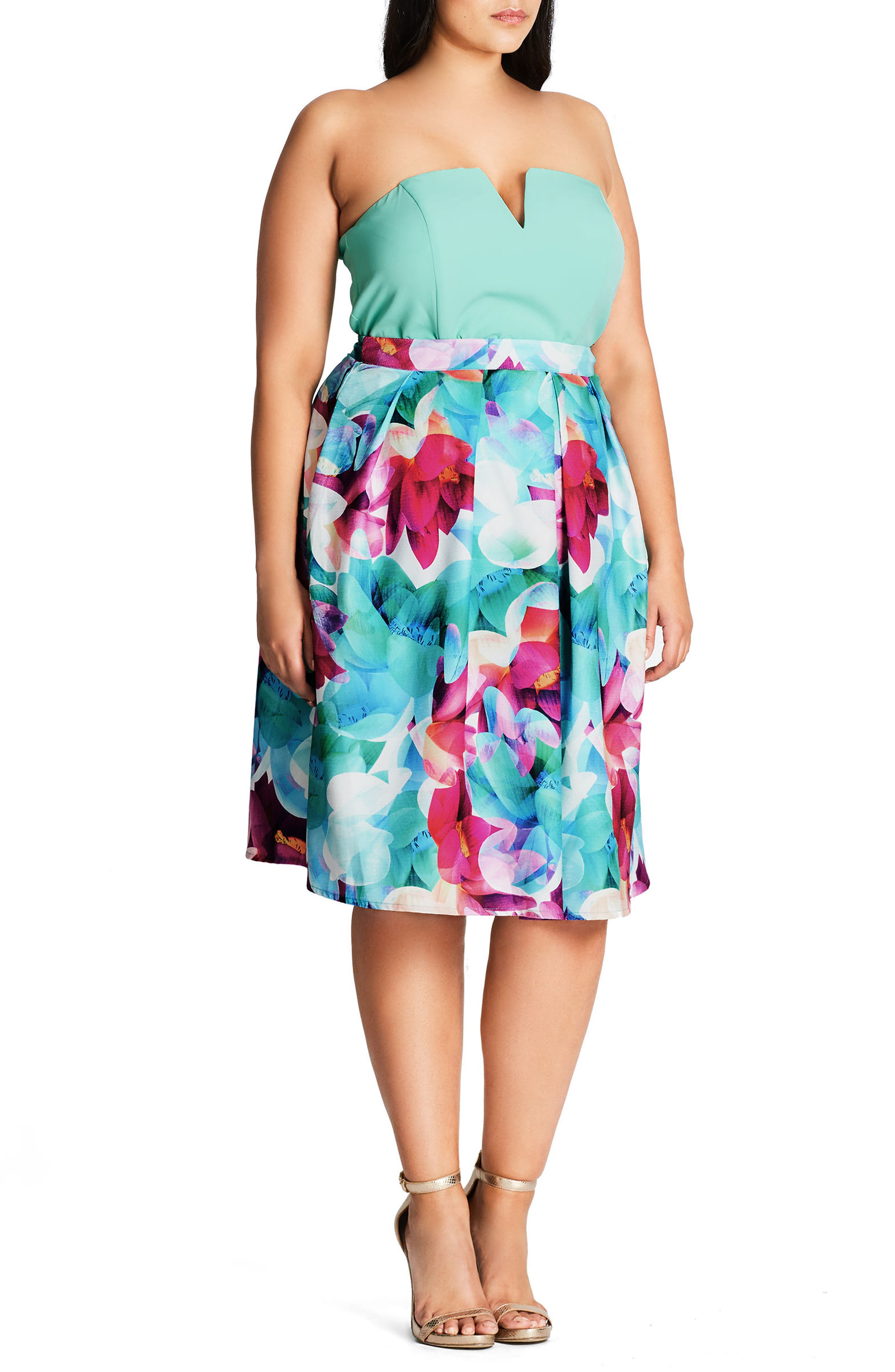 CITY CHIC Lily Floral Pleated Skirt