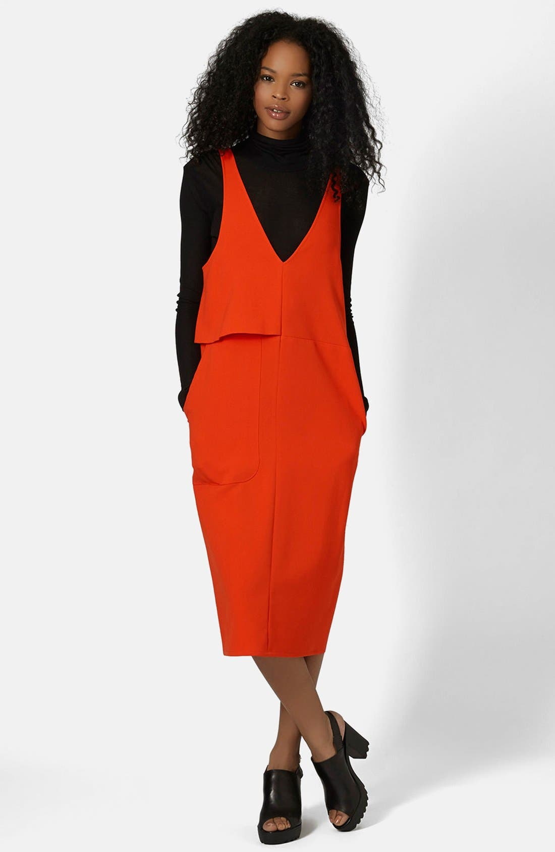 Main Image - Topshop Boutique Crepe Layering Dress