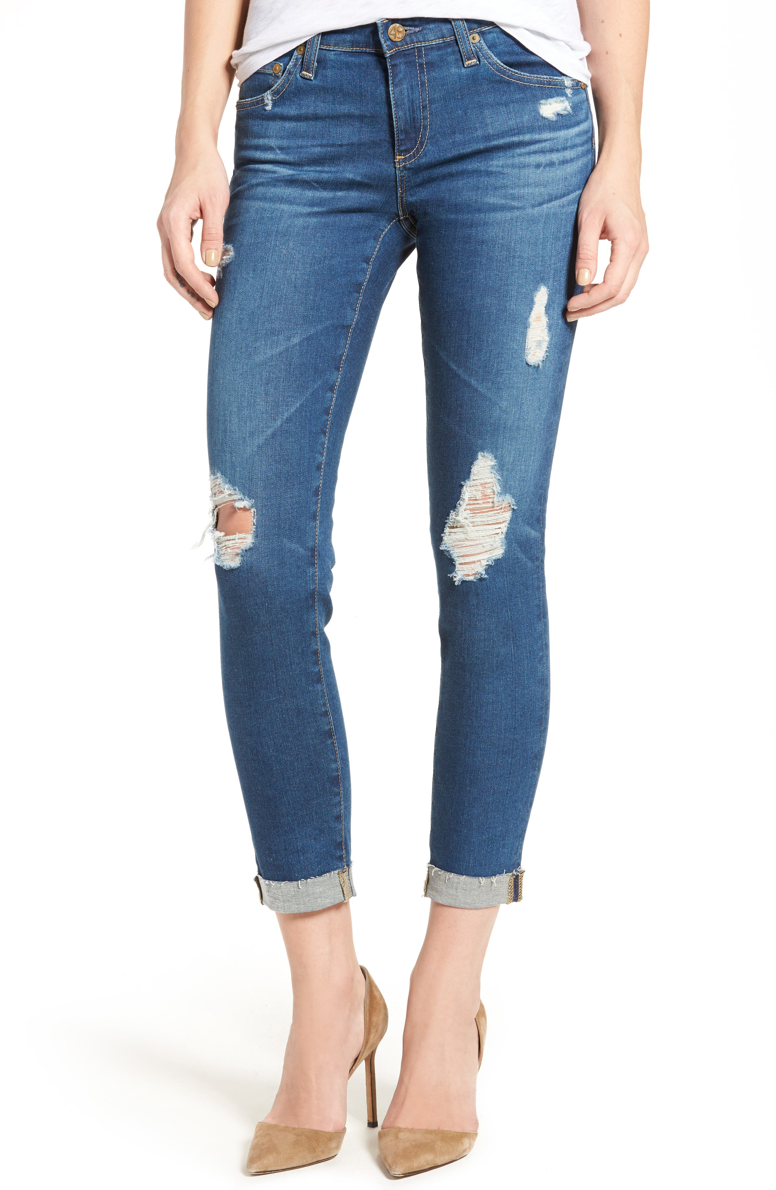 Alternate Image 1 Selected - AG The Stilt Roll Cuff Cigarette Leg Jeans