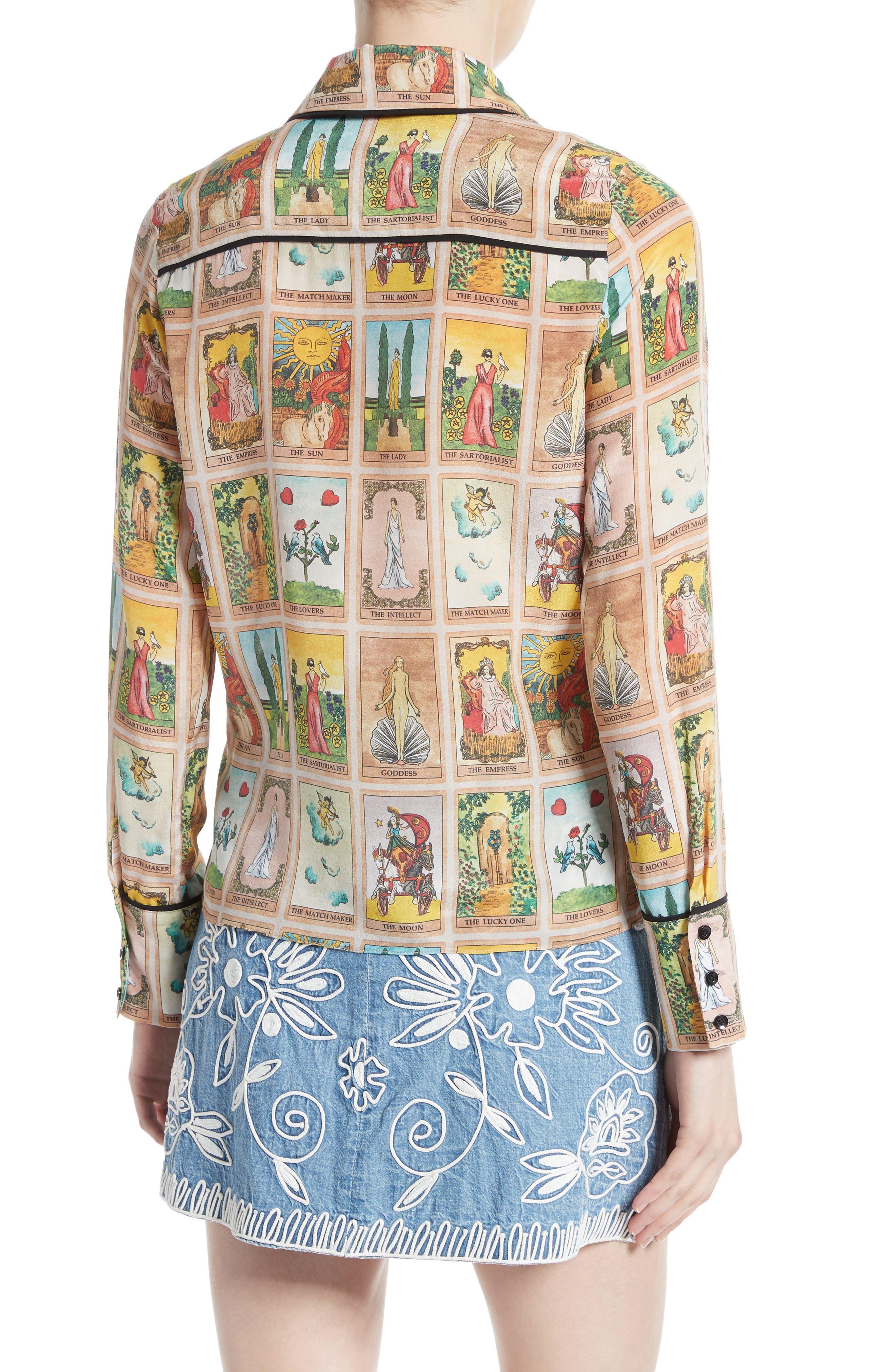 Alternate Image 2  - Alice + Olivia Alfie Print Silk Peter Pan Collar Blouse