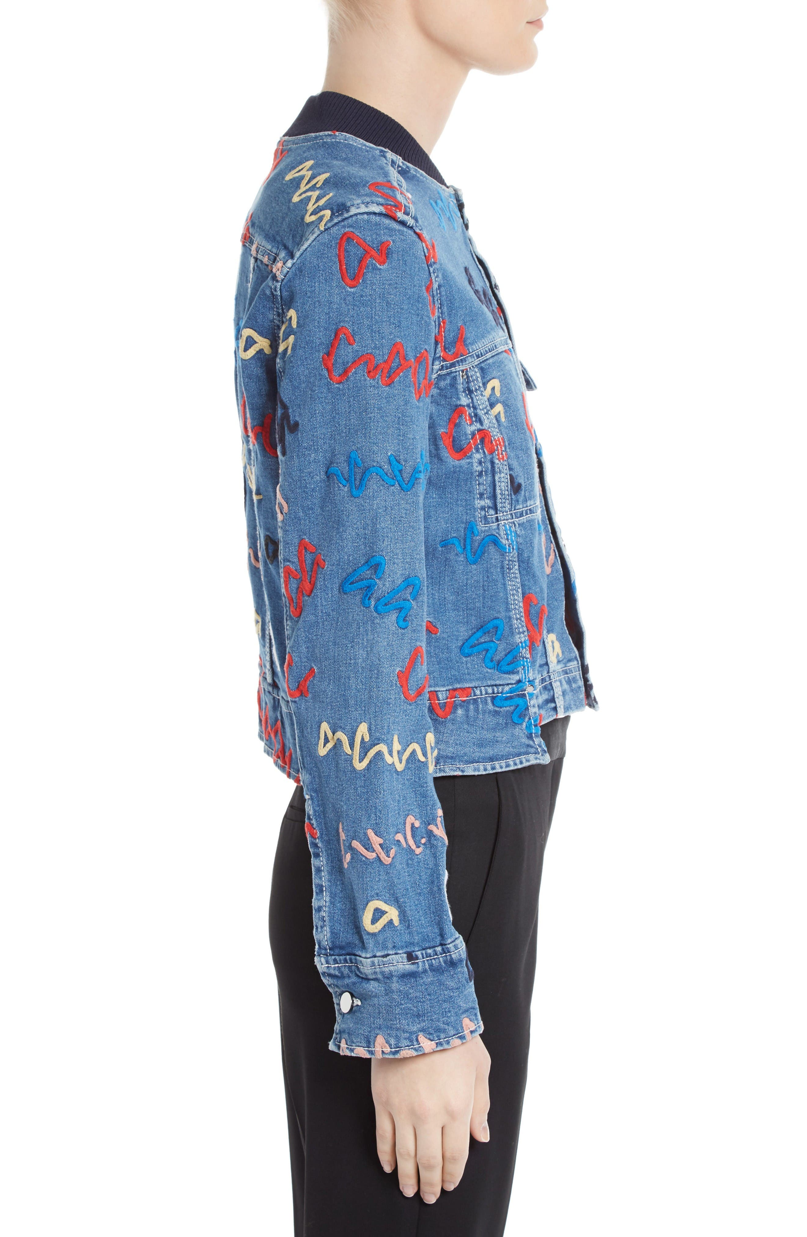 Alternate Image 4  - GREY Jason Wu Scribble Embroidered Denim Jacket
