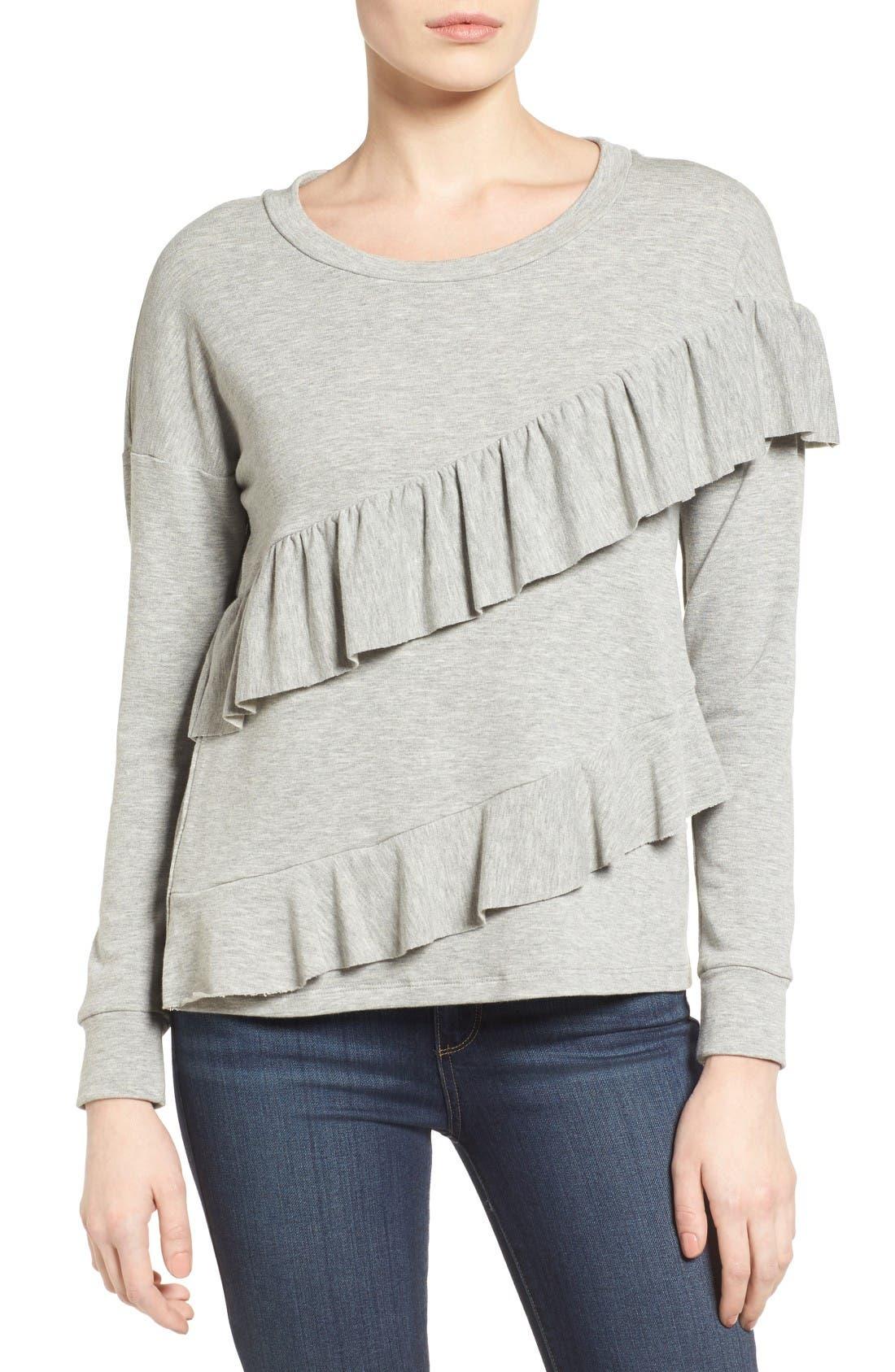 Alternate Image 1 Selected - Pleione French Terry Ruffle Sweatshirt (Regular & Petite)