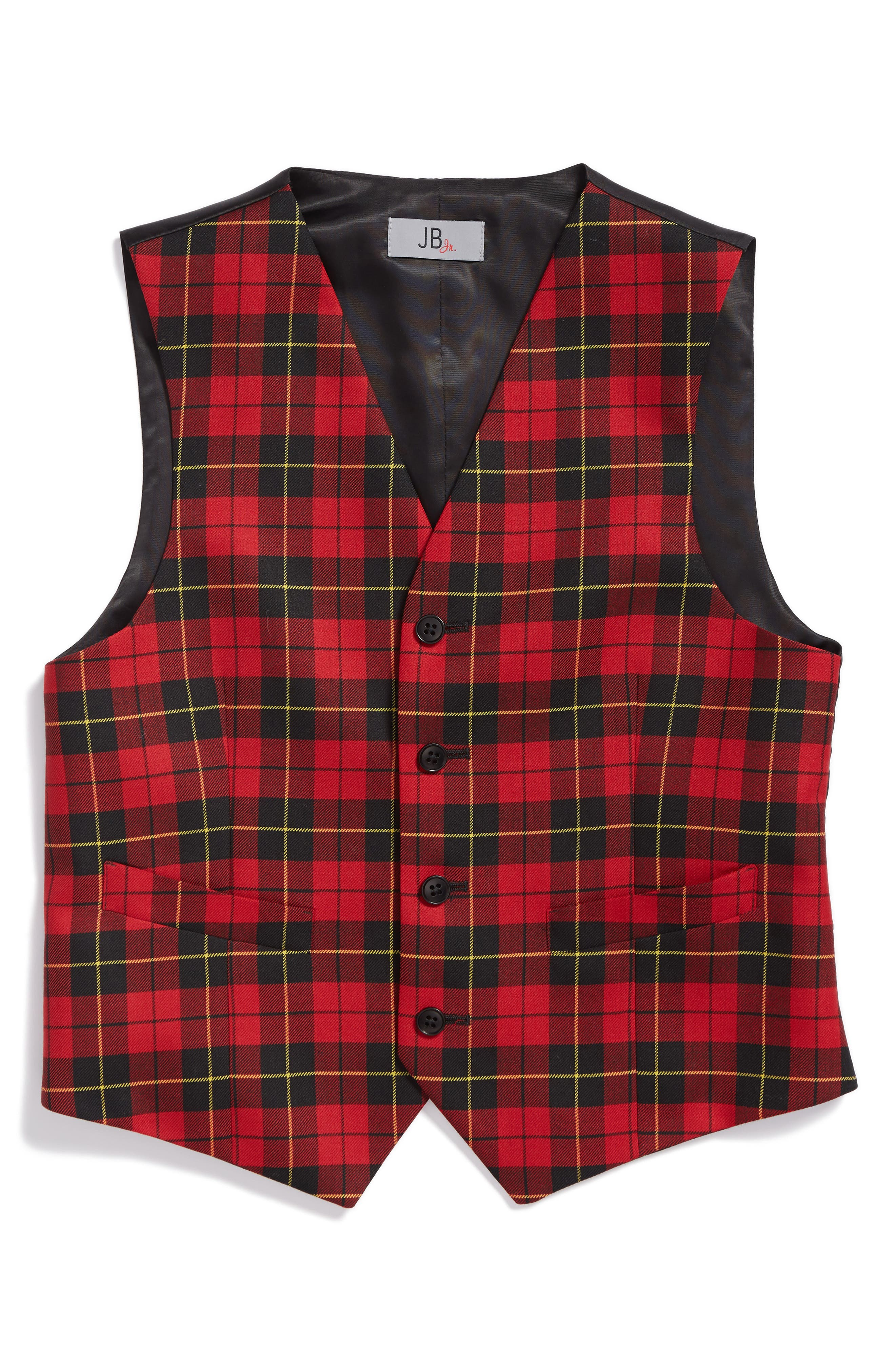 JB Jr Tartan Plaid Wool Vest (Big Boys)