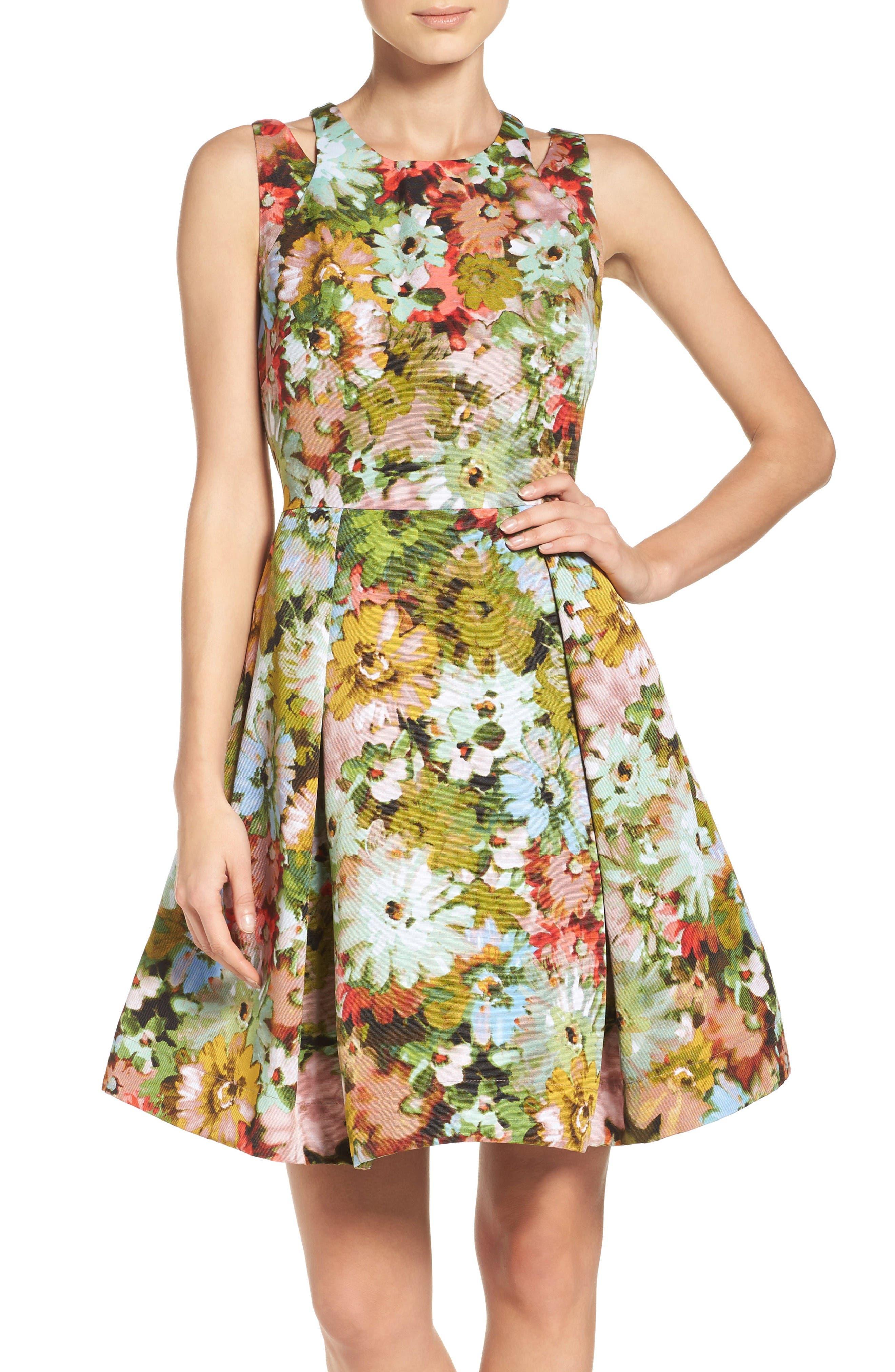 Alternate Image 1 Selected - Taylor Dresses Vintage Floral Fit & Flare Dress