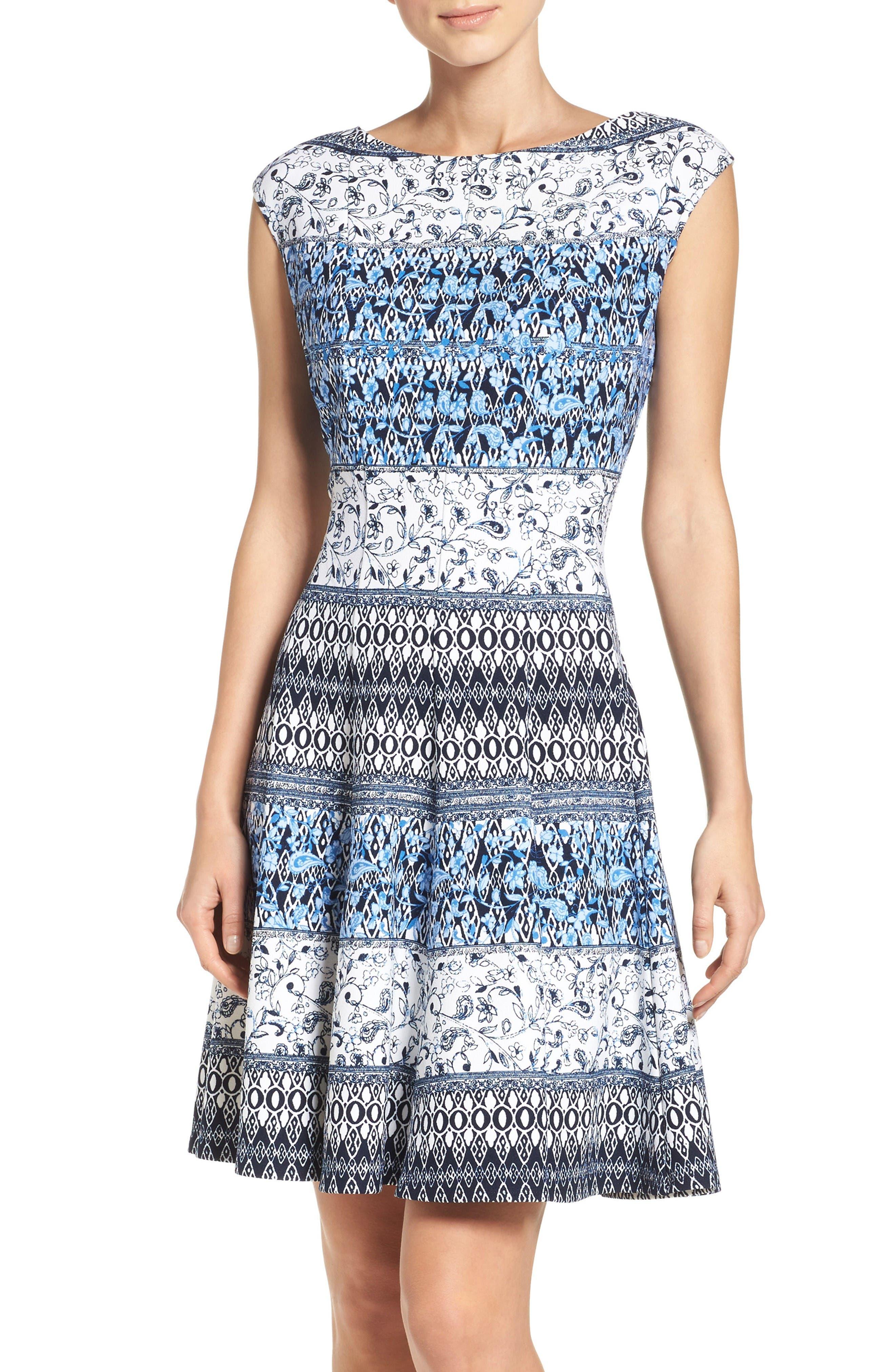 Gabby Skye Scuba Fit & Flare Dress