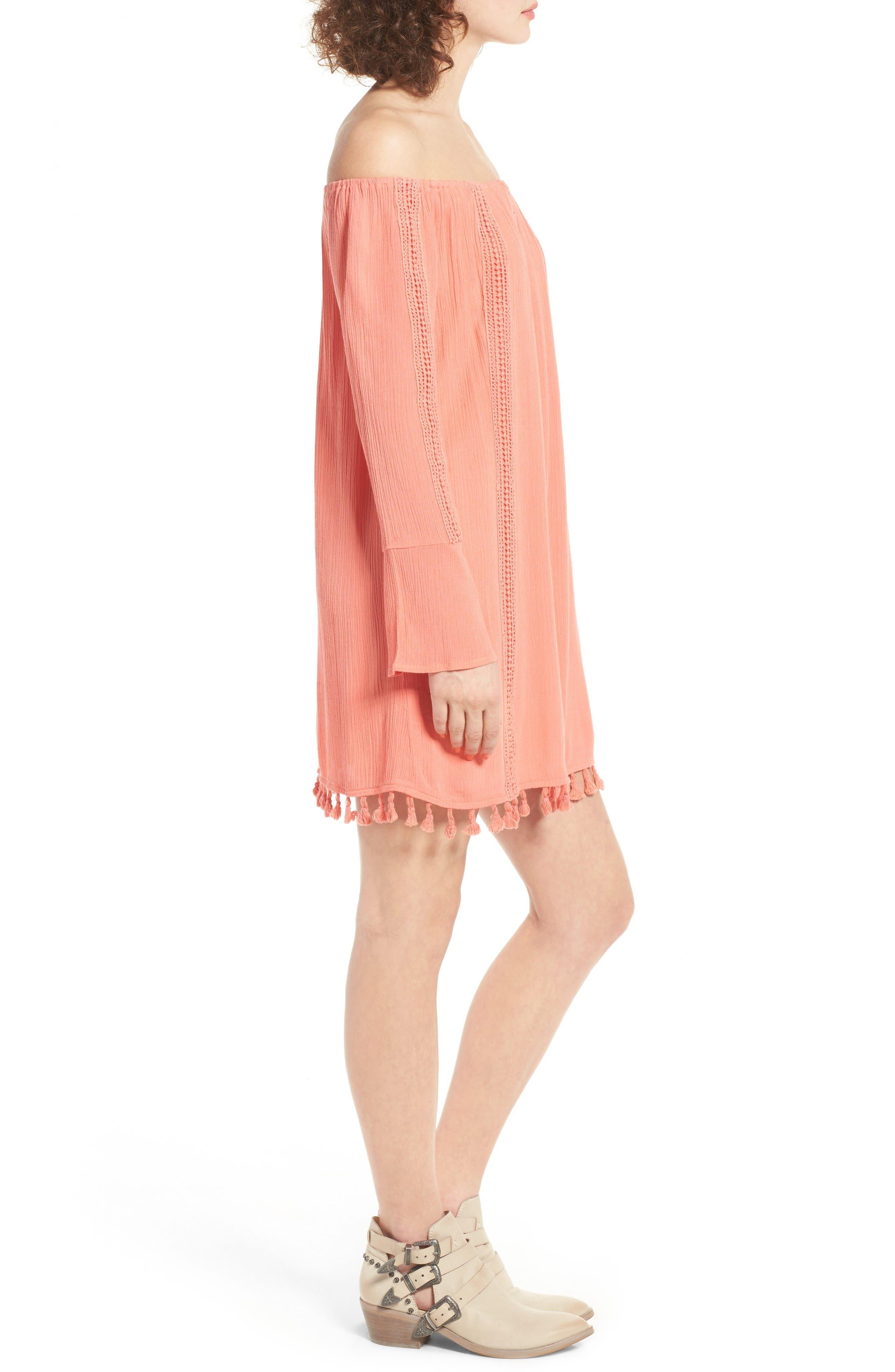 Alternate Image 3  - Dee Elly Tassel Trim Off the Shoulder Dress