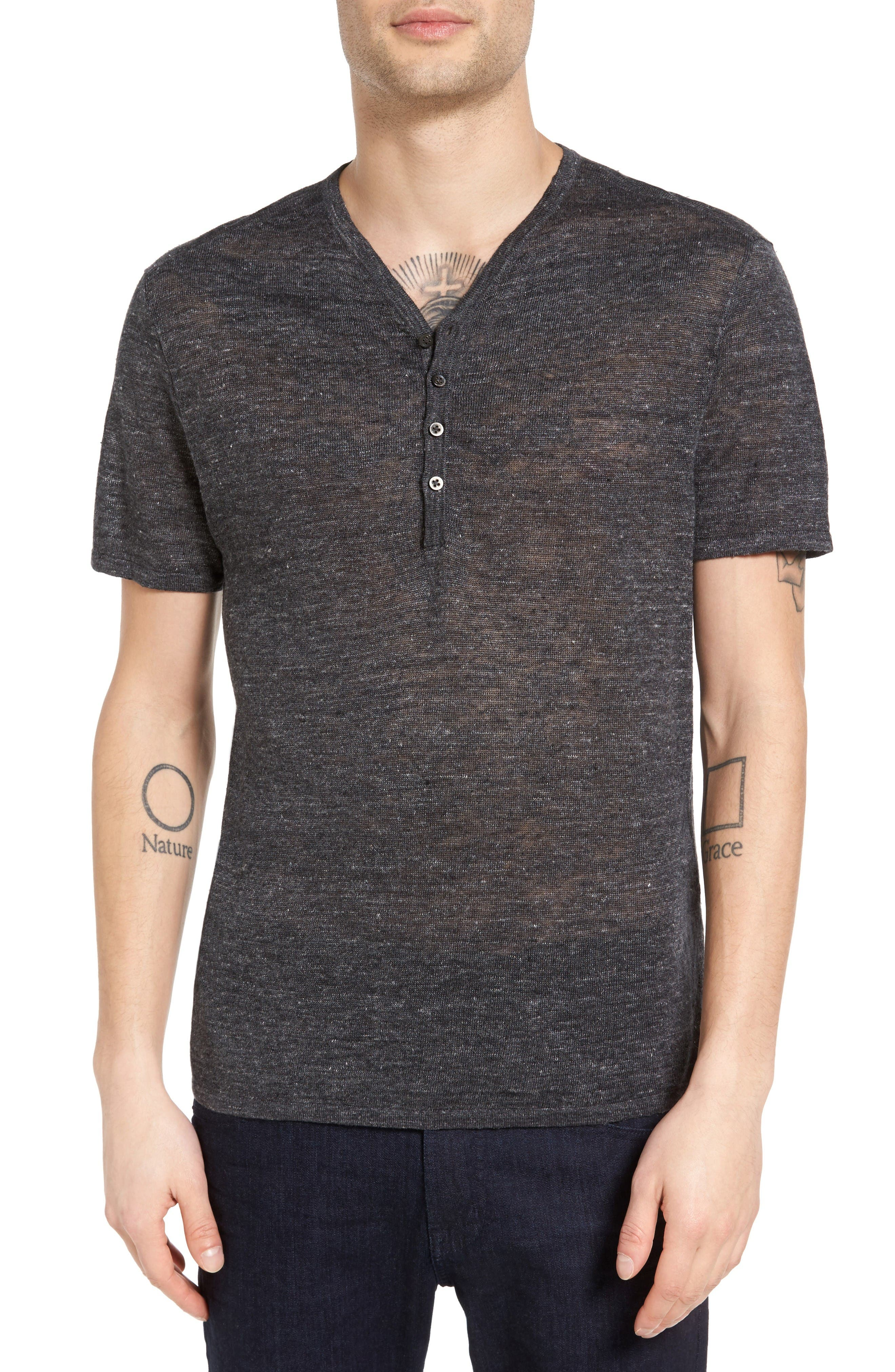 John Varvatos Star USA Space Dye Linen Henley Sweater