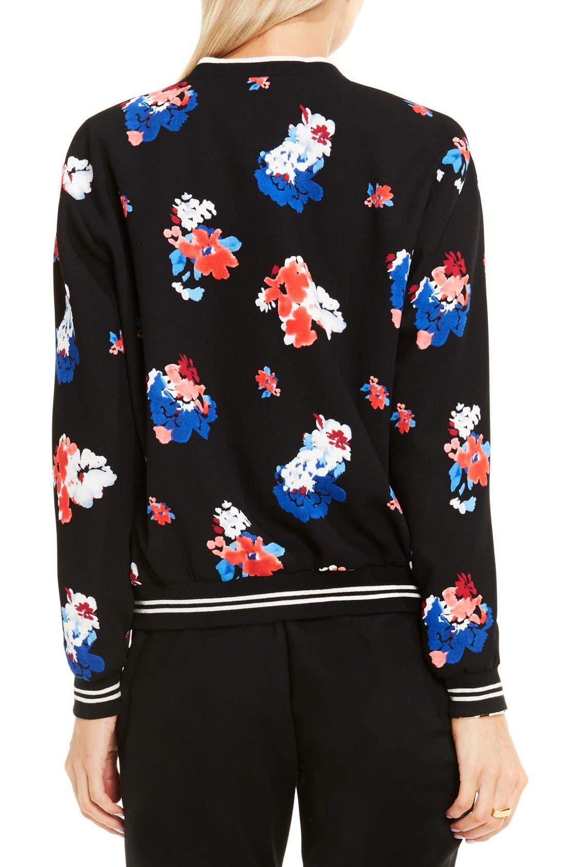 Alternate Image 2  - Vince Camuto Travelling Blooms Bomber Jacket (Regular & Petite)