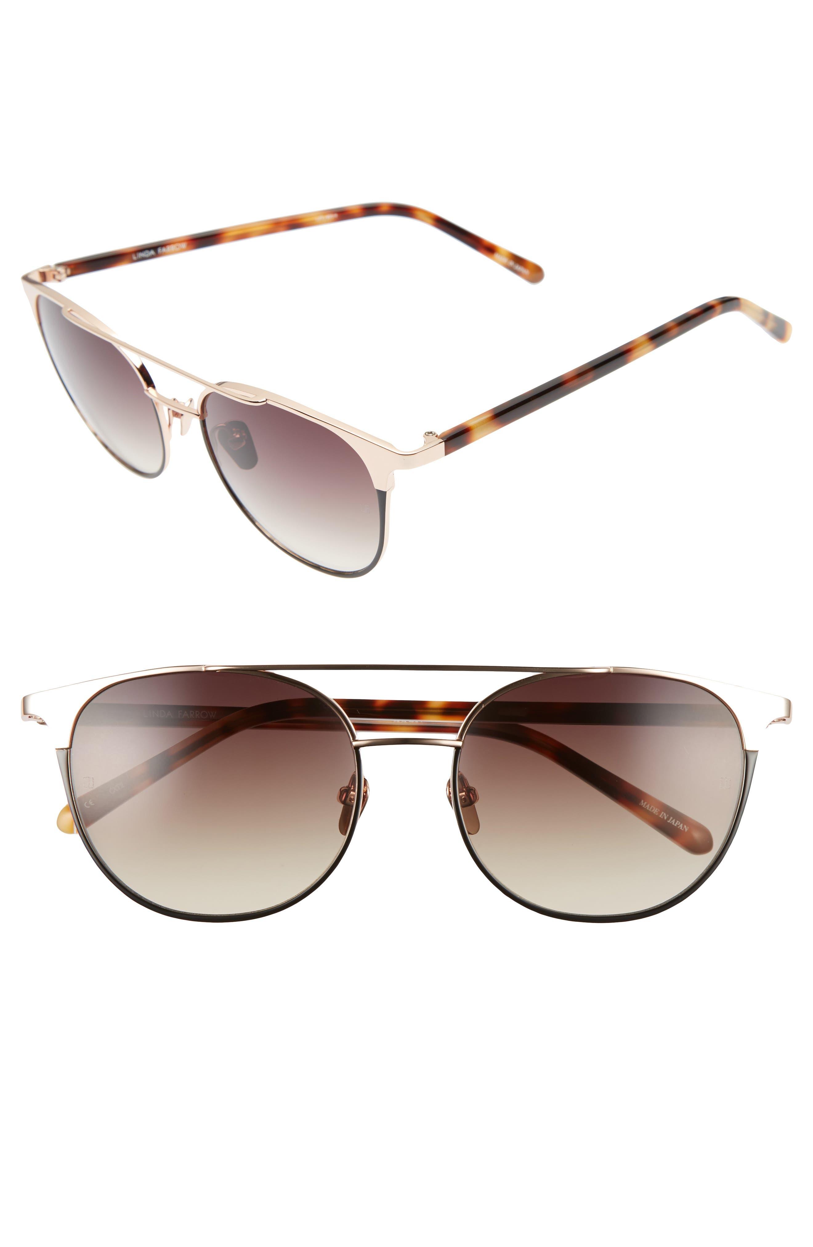 Linda Farrow 54mm Rose Gold Plated Aviator Sunglasses