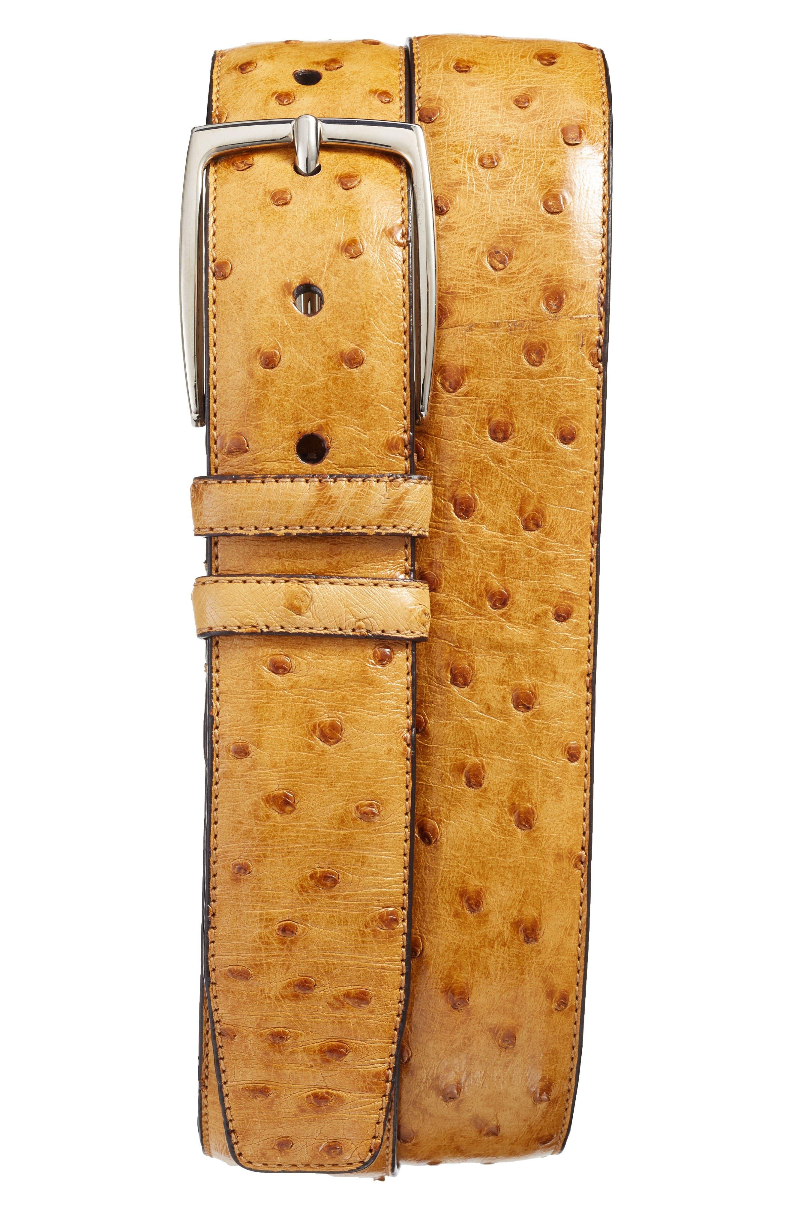 Mezlan Ostrich Leather Belt