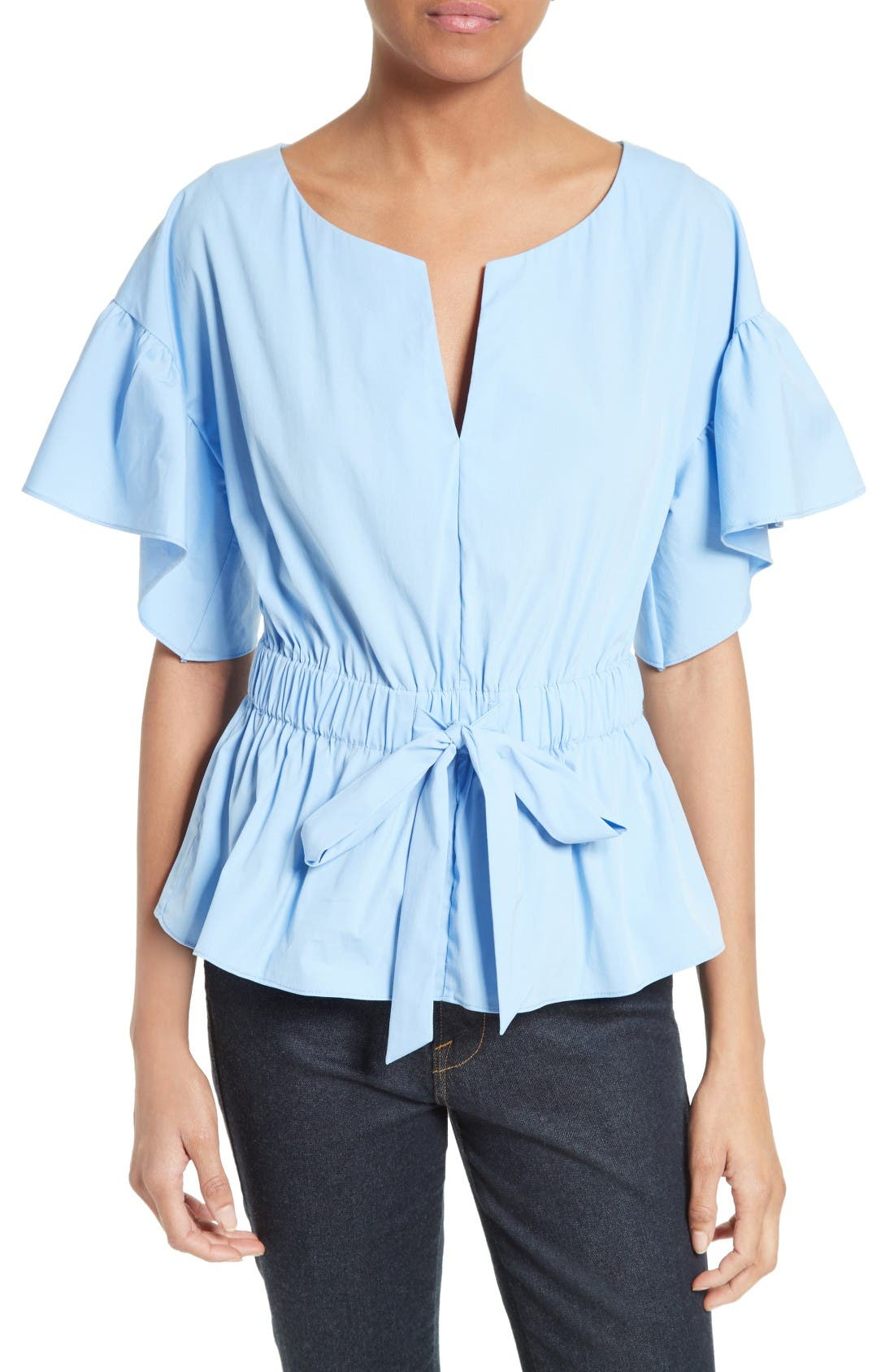 Milly Vivian Stretch Poplin Peplum Top