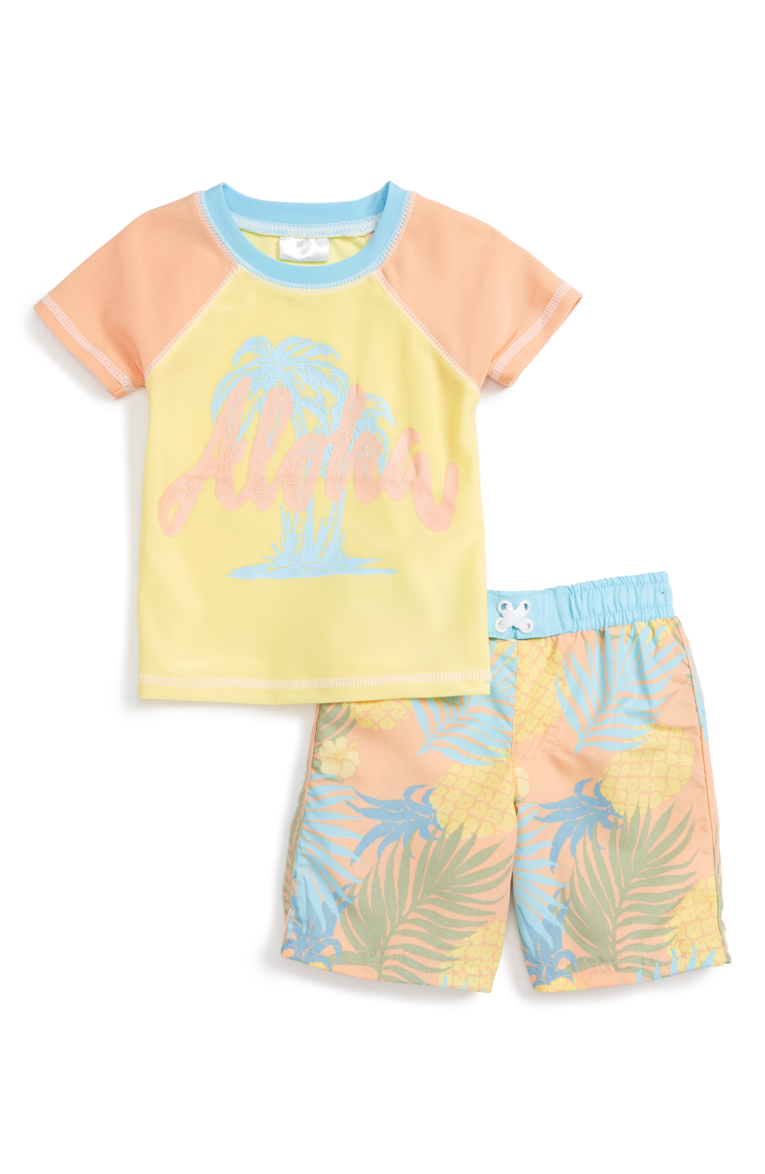 Sol Swim Pineapple Tropix Two-Piece Rashguard Swimsuit (Baby Boys)