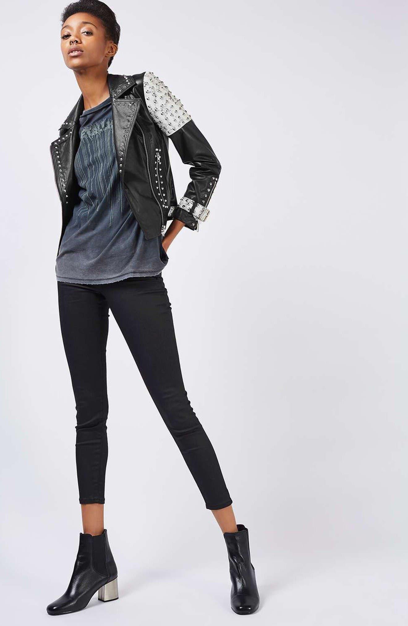 Alternate Image 2  - Topshop Maddox Studded Leather Jacket