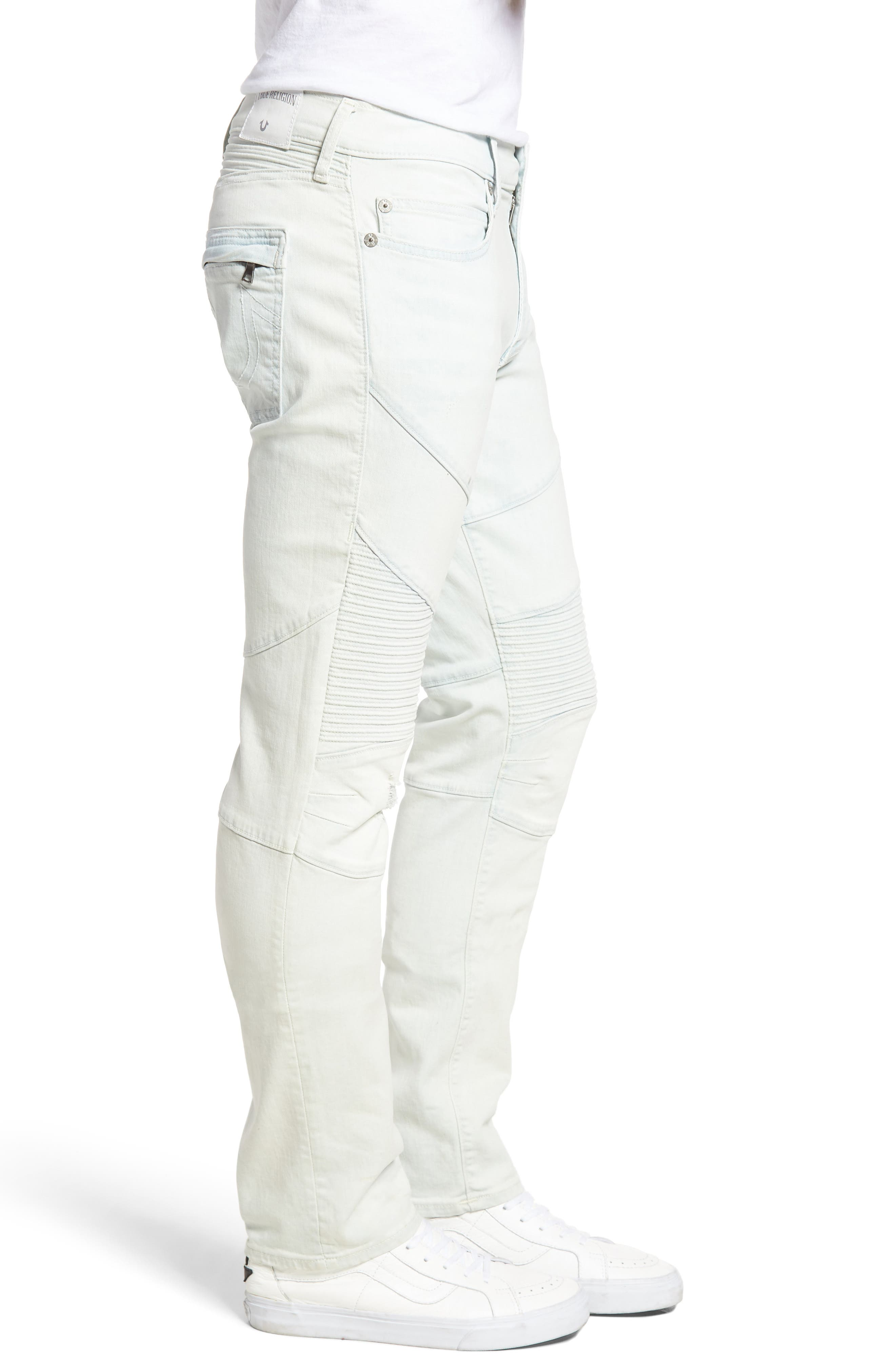 Alternate Image 3  - True Religion Brand Jeans Rocco Skinny Fit Moto Jeans (Light Daze)