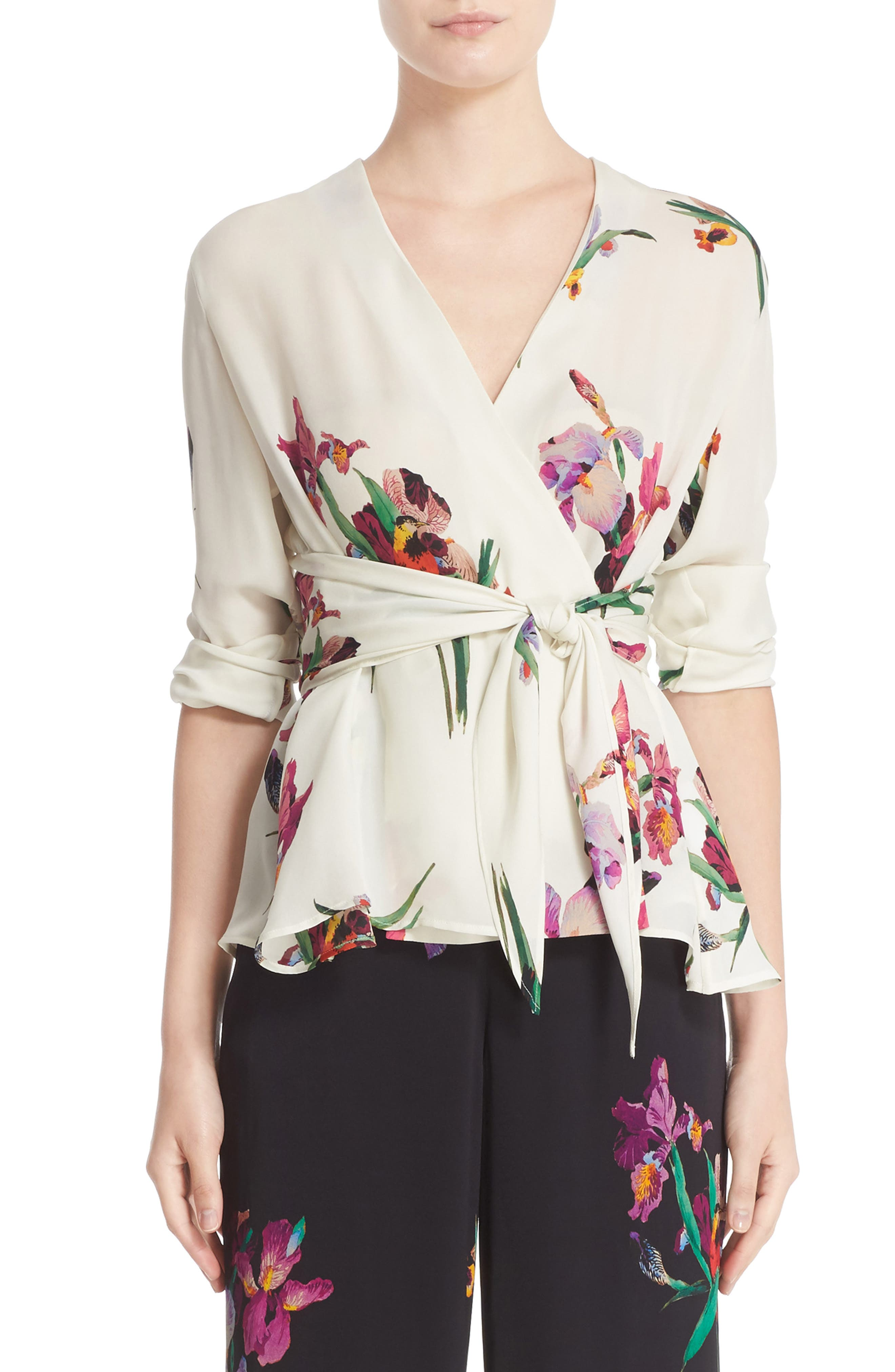 Bird Print Silk Blouse 59