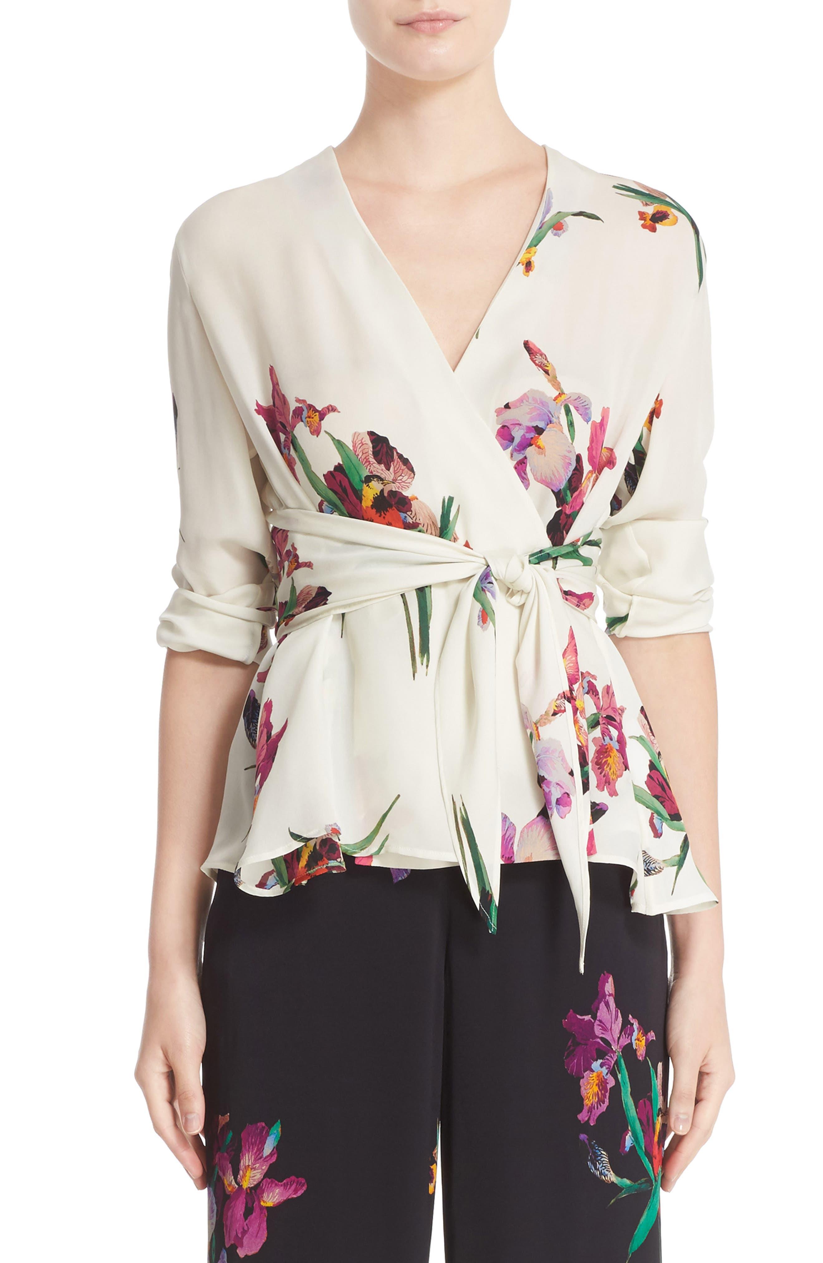 Main Image - Etro Floral & Bird Print Silk Wrap Blouse