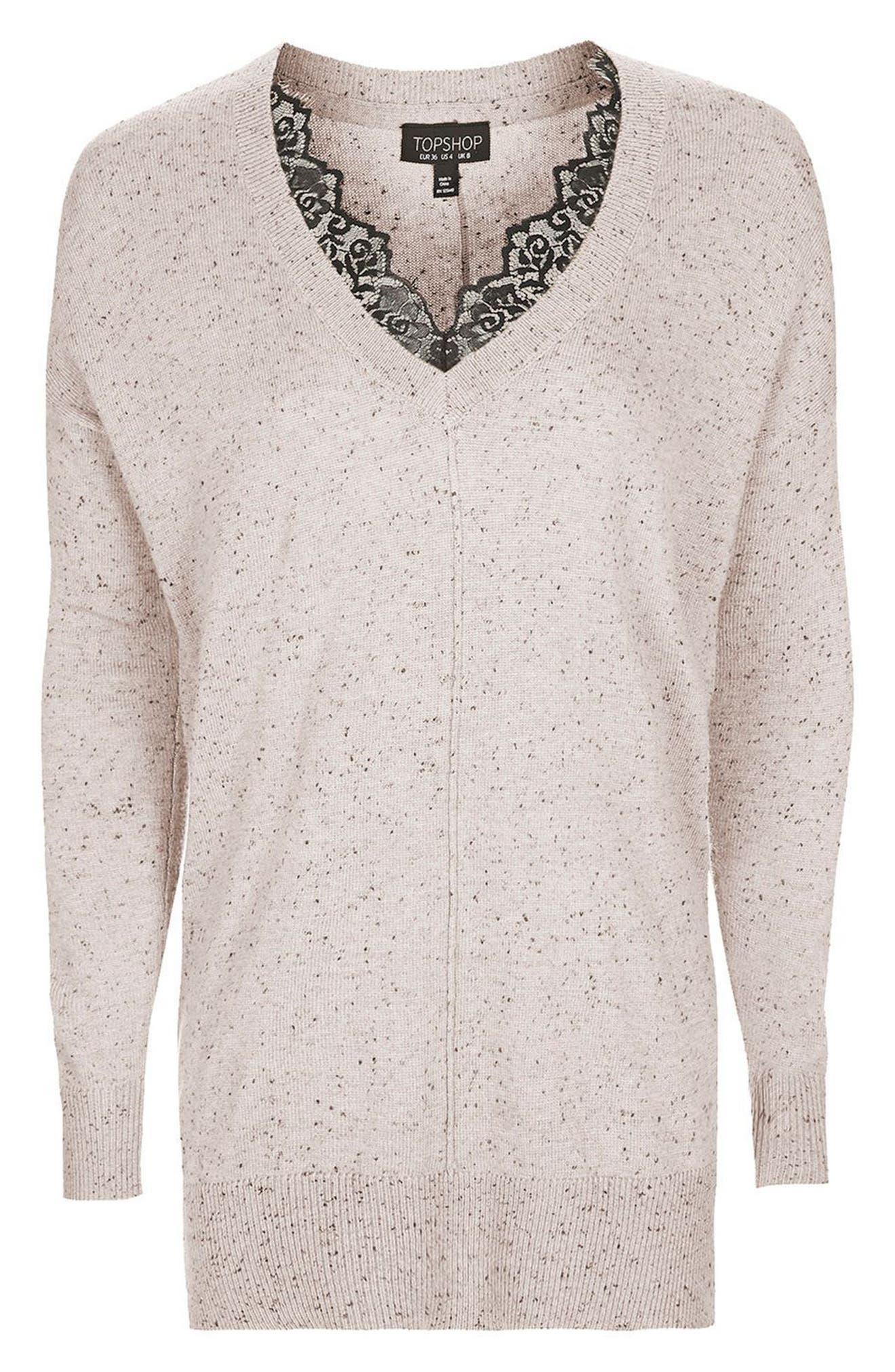 Alternate Image 4  - Topshop Lace V-Neck Sweater Tunic