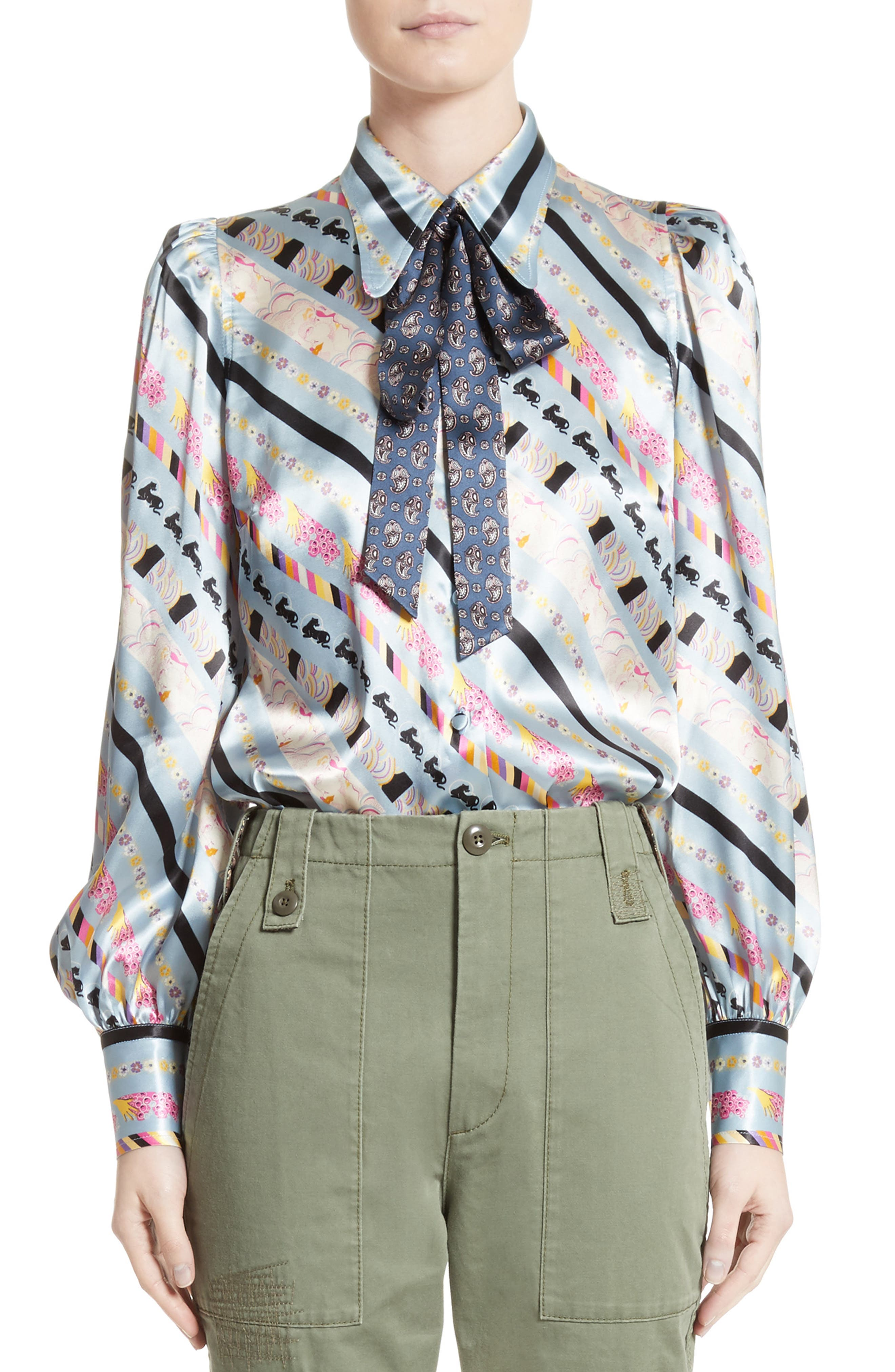 Main Image - MARC JACOBS Doing Dishes Satin Tie Neck Blouse