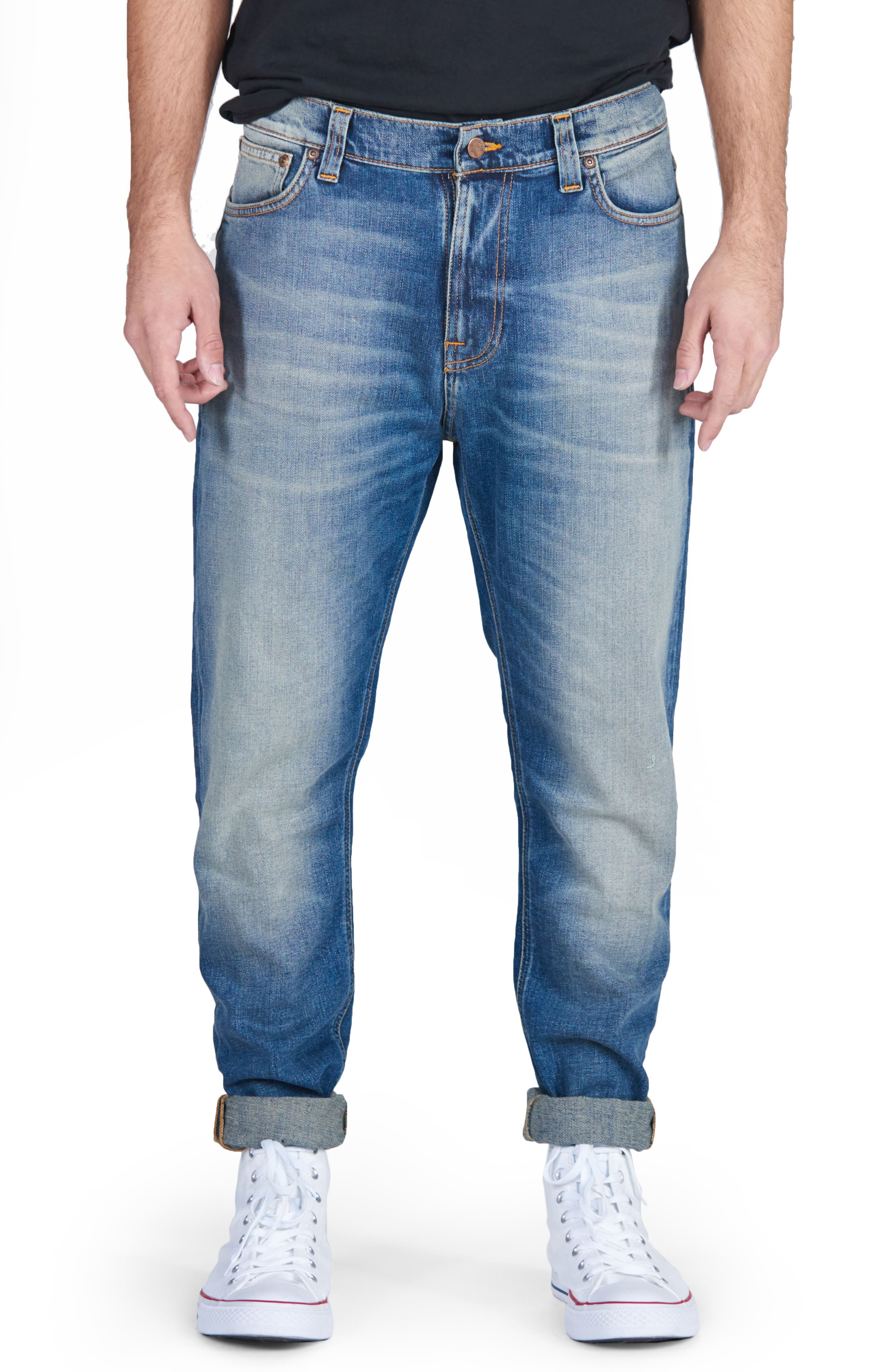 Nudie Jeans Brute Knut Skinny Slouchy Fit Jeans (Blue Hike)