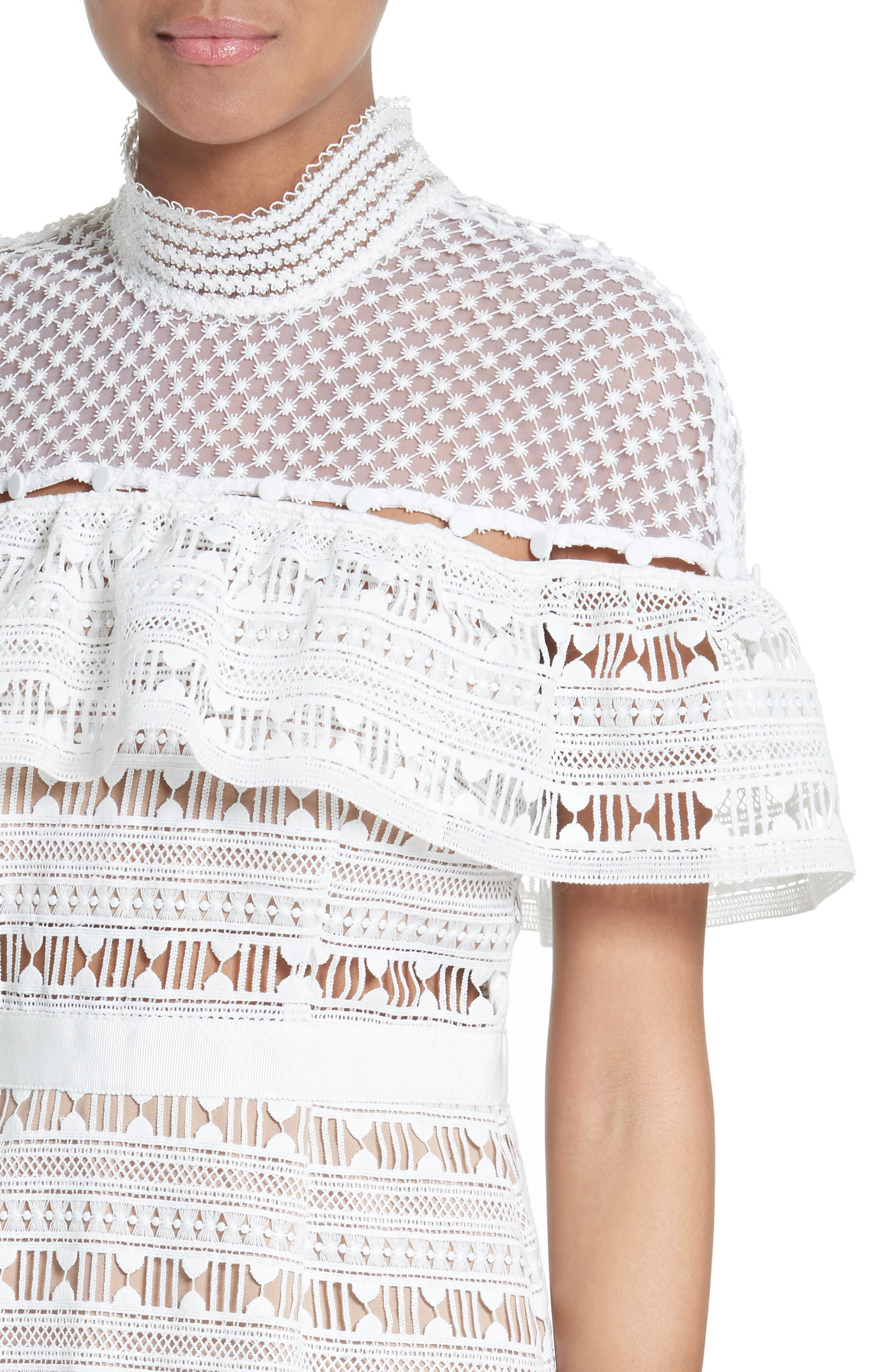 Alternate Image 4  - Self-Portrait Ruffle Sleeve Lace Dress